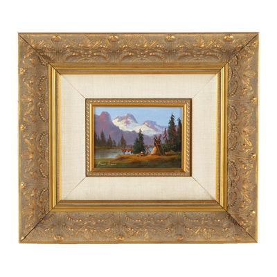 Heinie Hartwig Oil Painting on Board of a Mountain Landscape