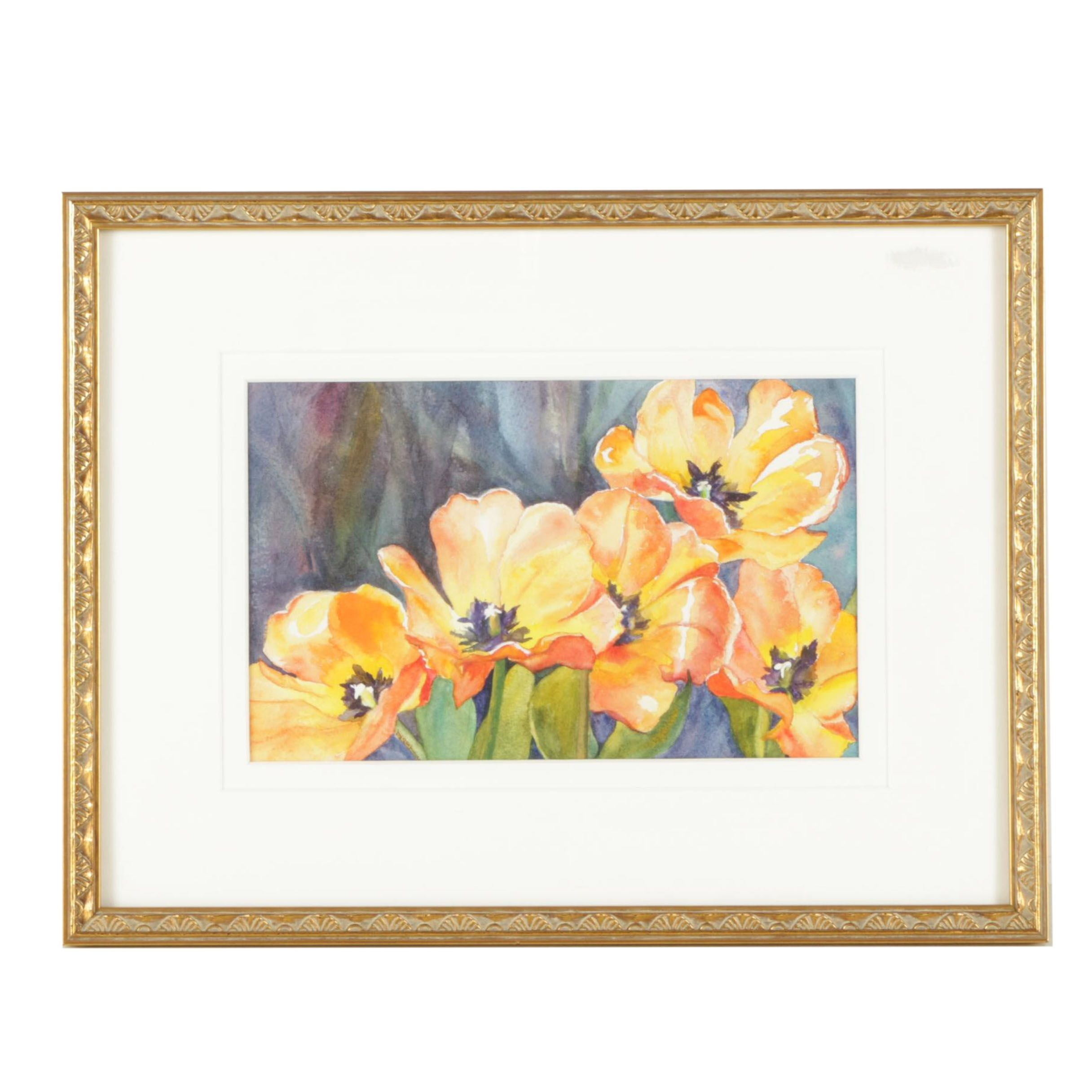 Judy Antico Watercolor Painting of Flowers