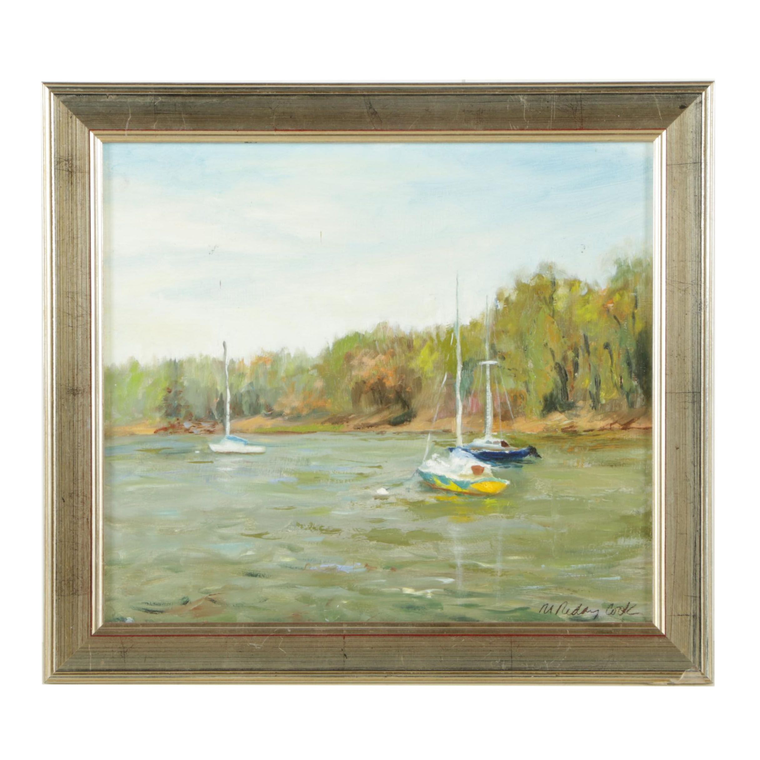 "Michele Reday Cook Oil Painting ""Peaceful Harbor"""