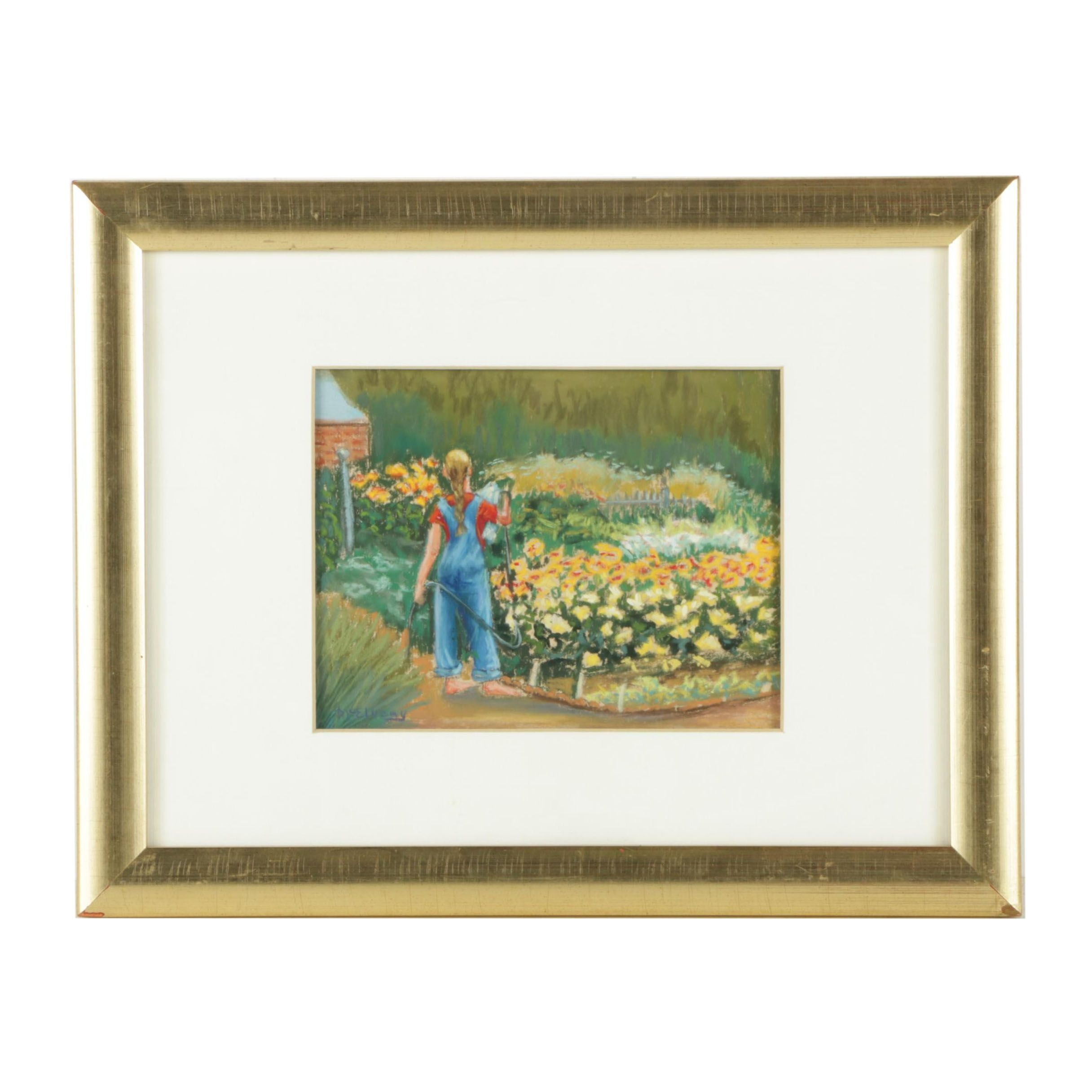 Jane McElvany Coonce Pastel Drawing of a Gardener
