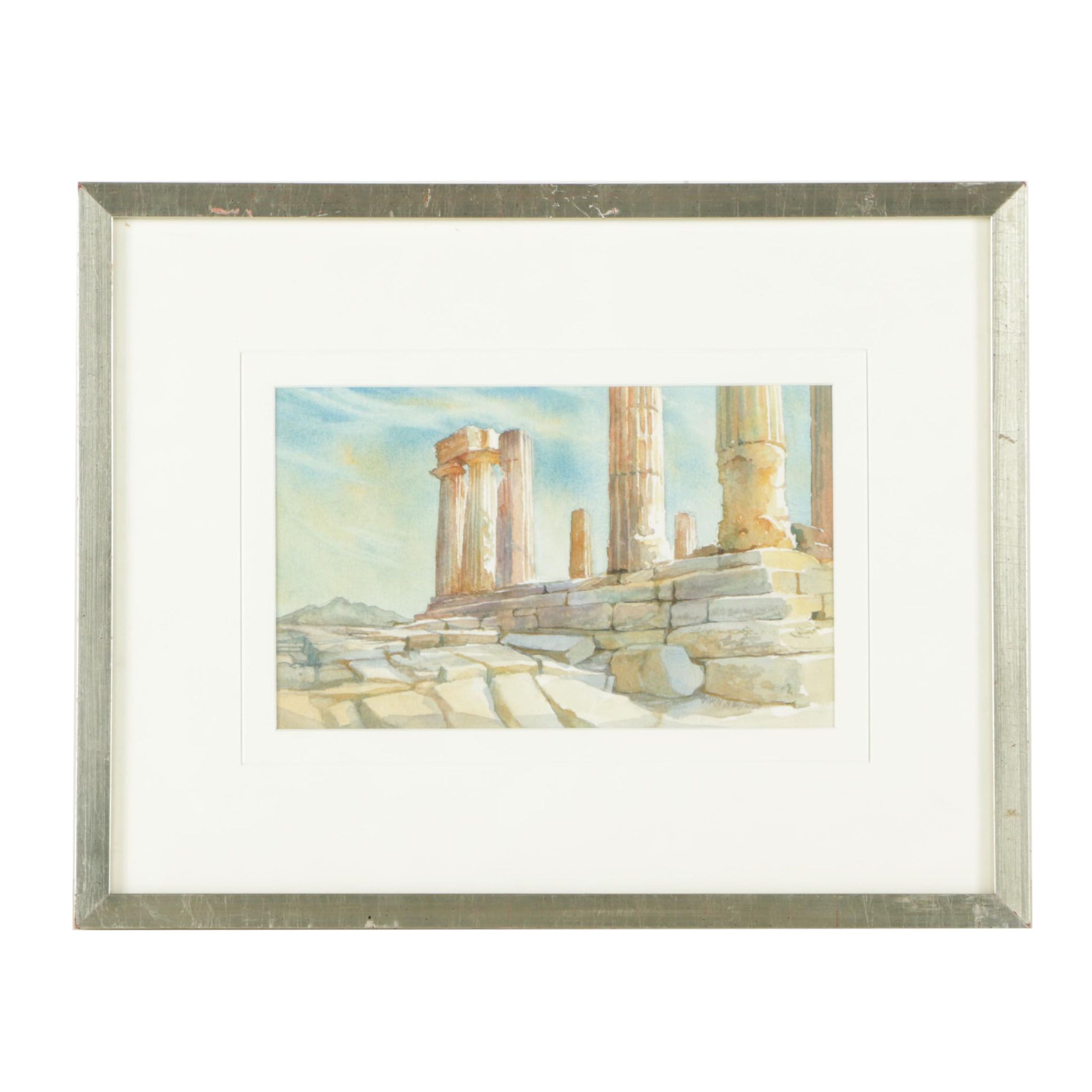 Watercolor on Paper of Greek Ruins