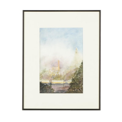 "Lynn Dutton Watercolor Painting ""Morning Fog at Shuter's Hill"""