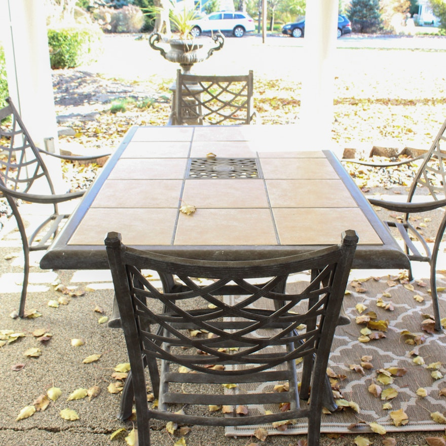 Cast Aluminum And Ceramic Tile Patio Table Chairs