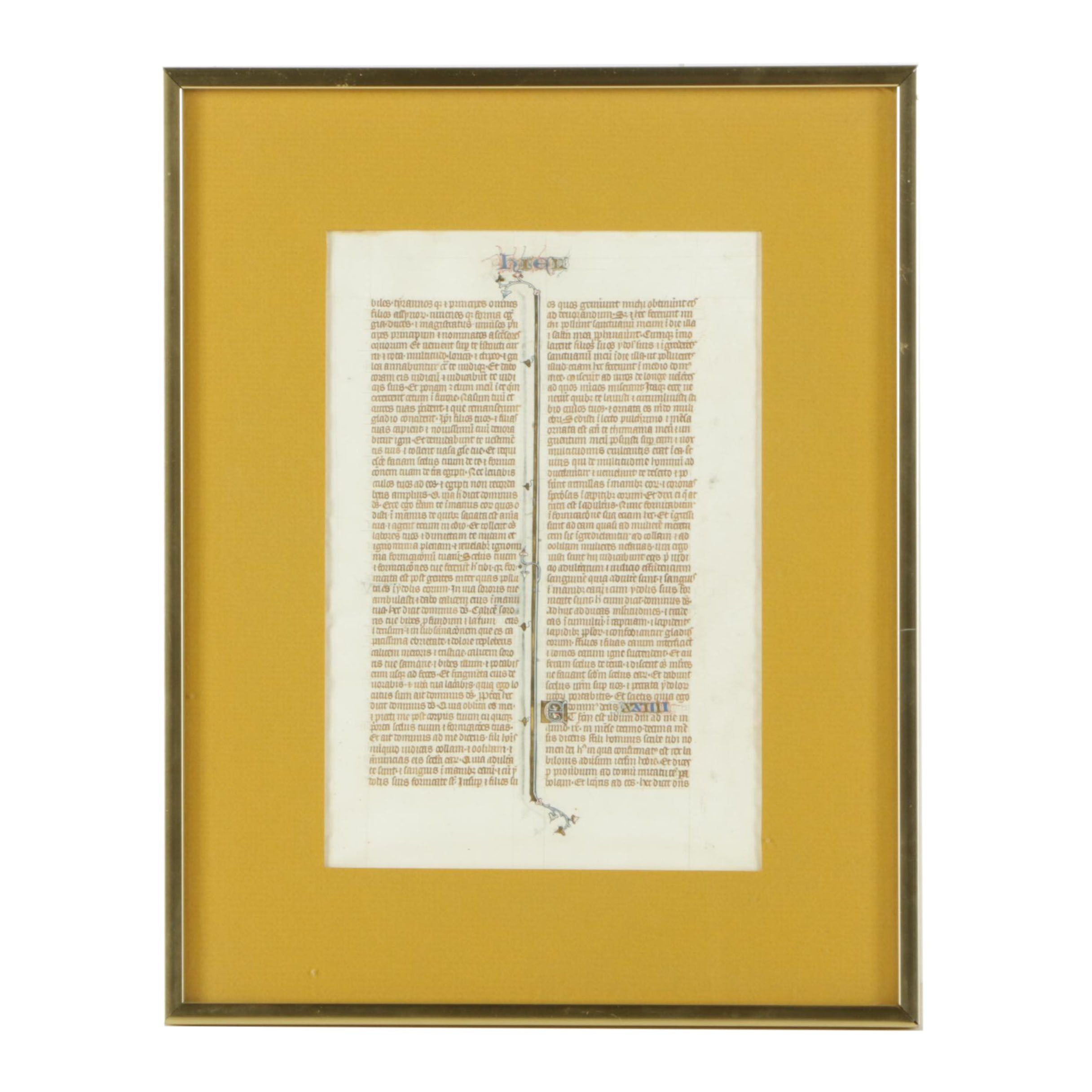 Medieval Hand-Painted Double-Sided Latin Manuscript on Vellum