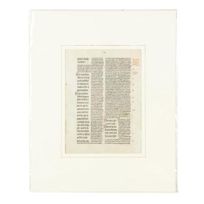"Hand-Painted Manuscript Page on Vellum ""Petrus Lombardus"""