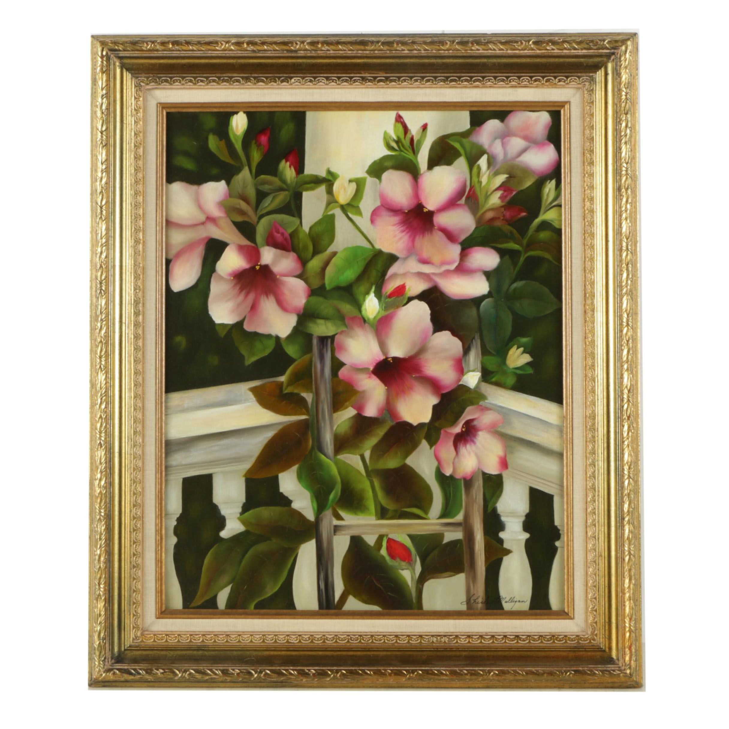 Shirley Mulligan Oil Painting on Board of Pink Flowers