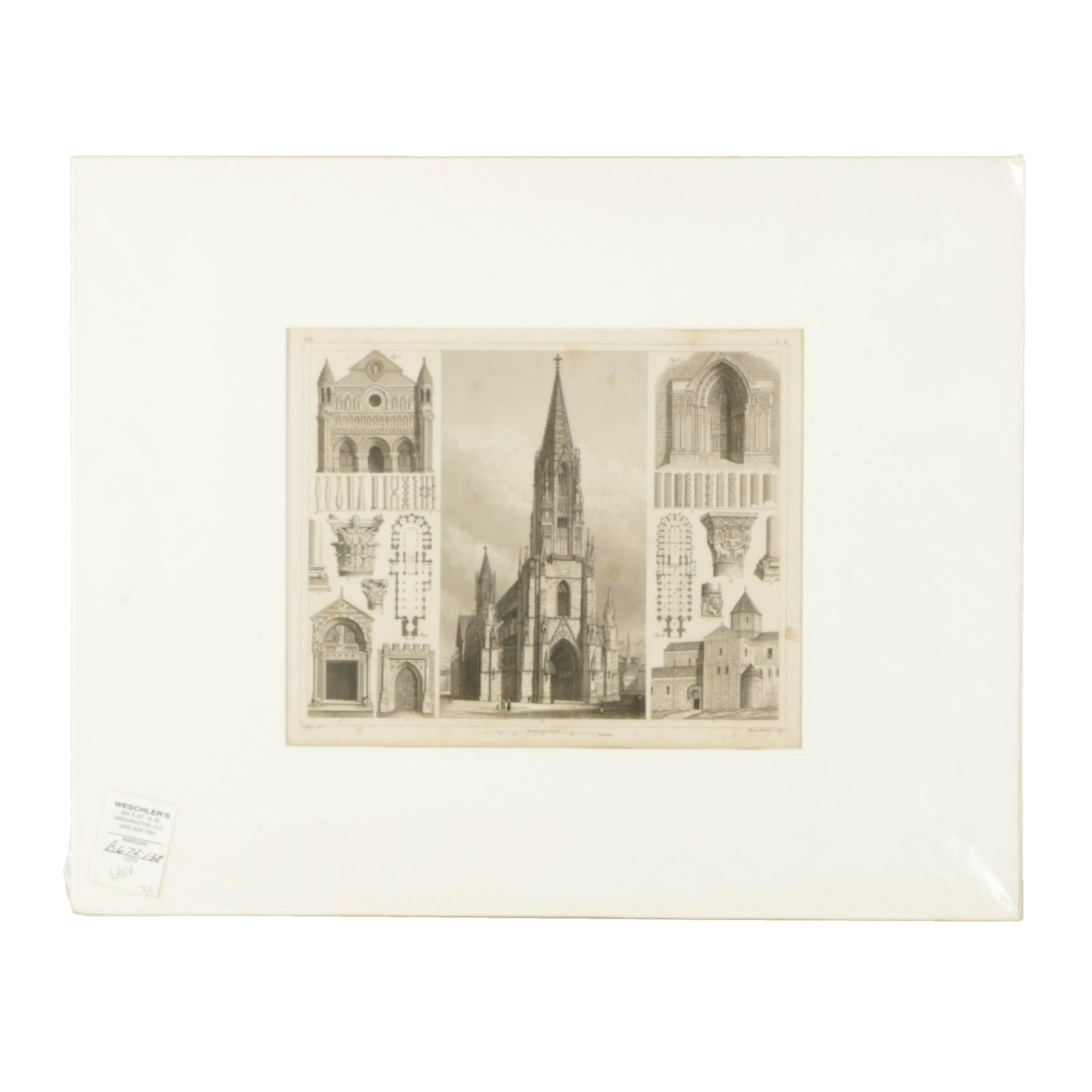 Henry Winkles Engraving on Paper of Freiburg Minster