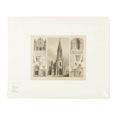 Henry Winkles Engraving on Paper of Freiburg Minster