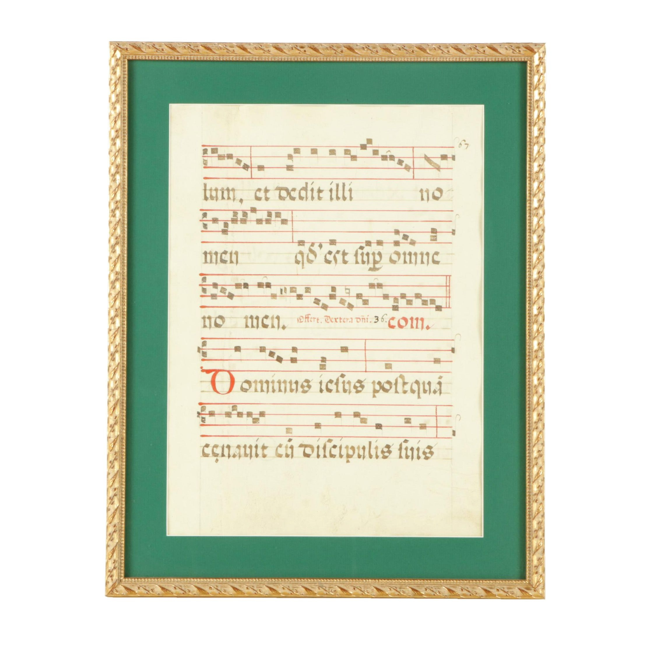 Hand-Painted Latin Sheet Music Manuscript Folio