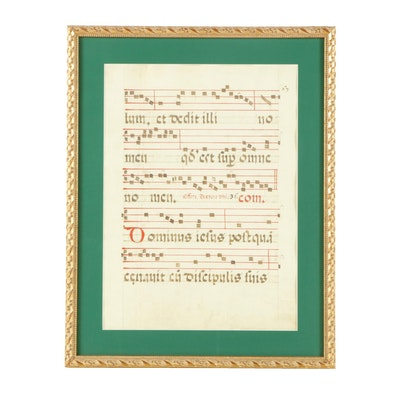 Hand-Painted Latin Sheet Music Manuscript Folio