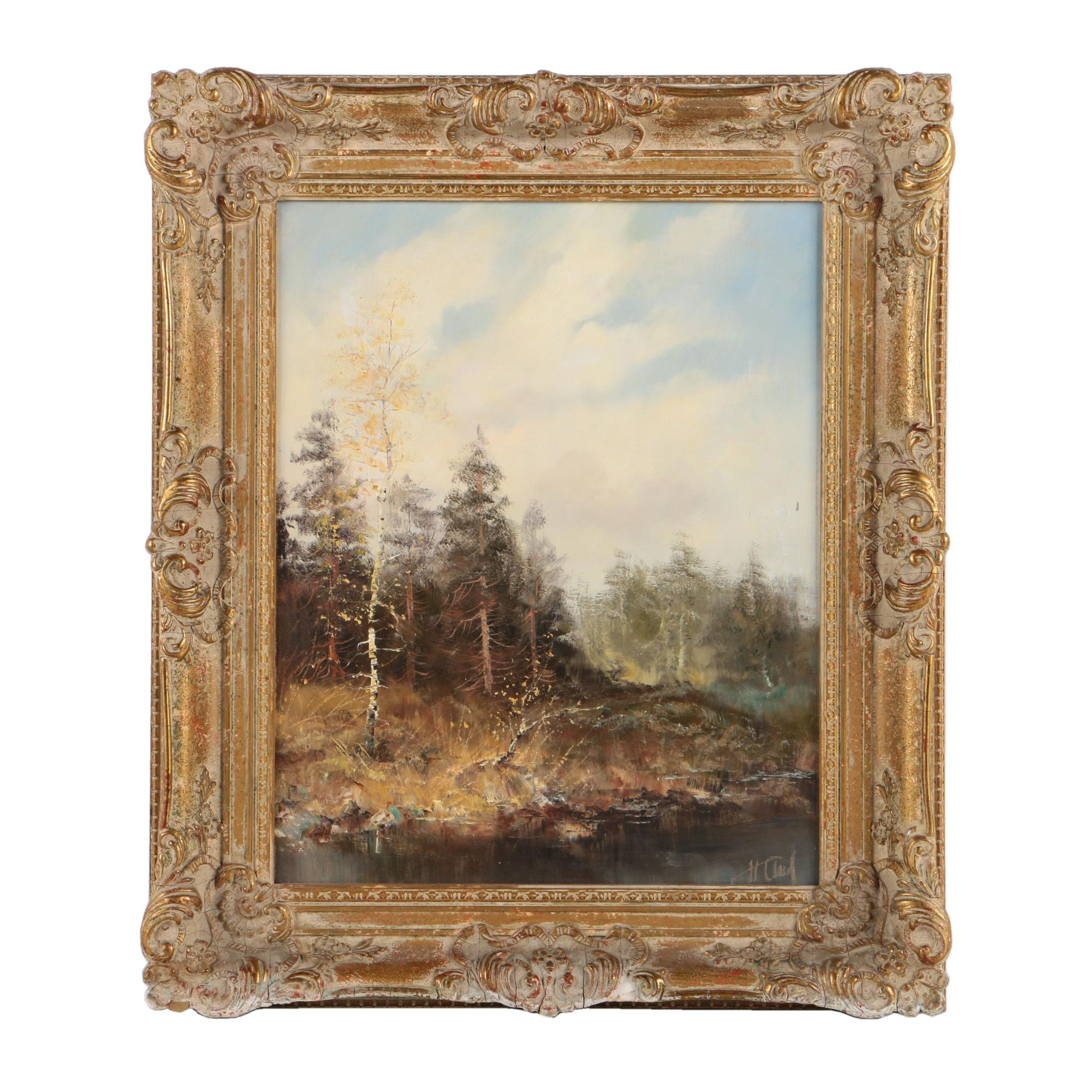 Oil Painting of a Forest Landscape