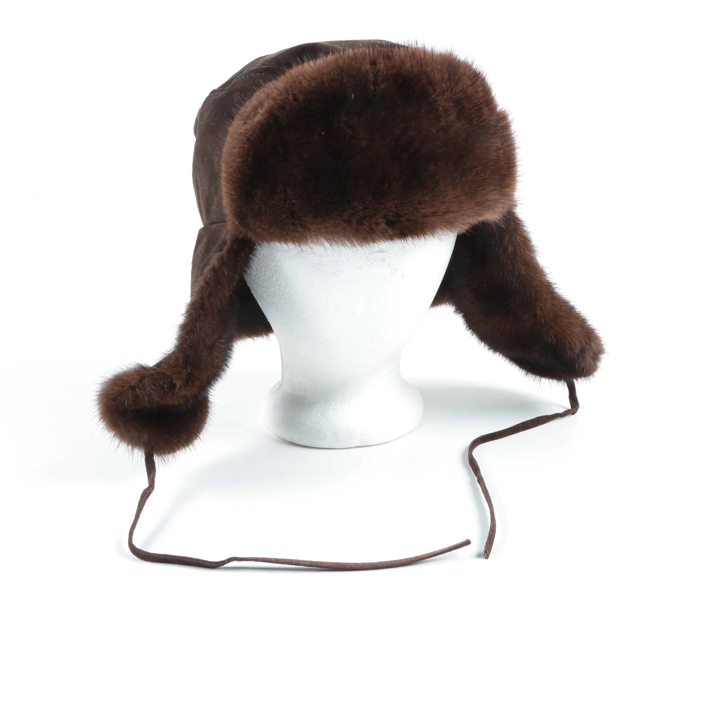 Paul Stuart Brown Suede Leather Mink Fur Trapper Hat