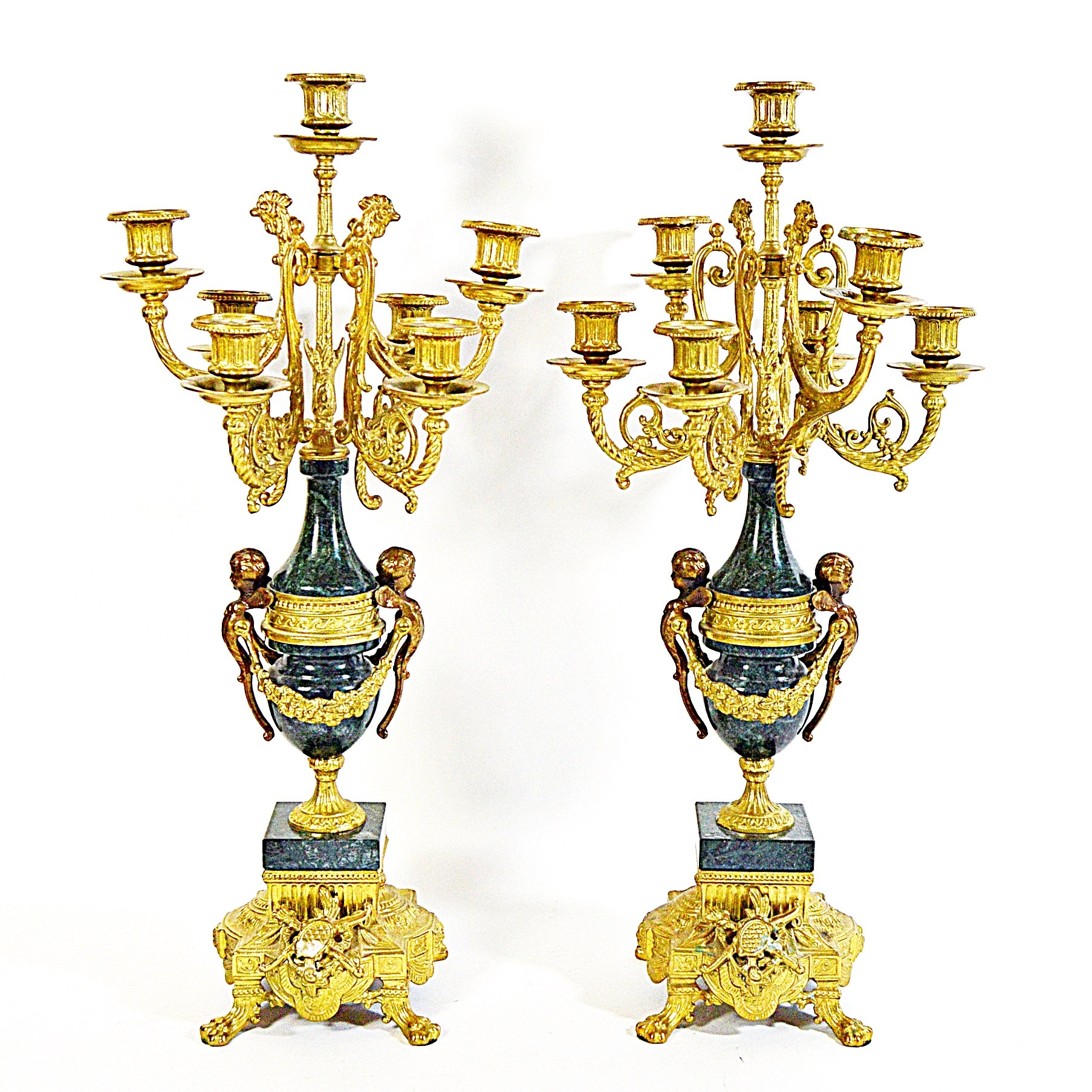 Italian Brevetatto Imperial Style Candelabra on Green Marble Urns with Putti