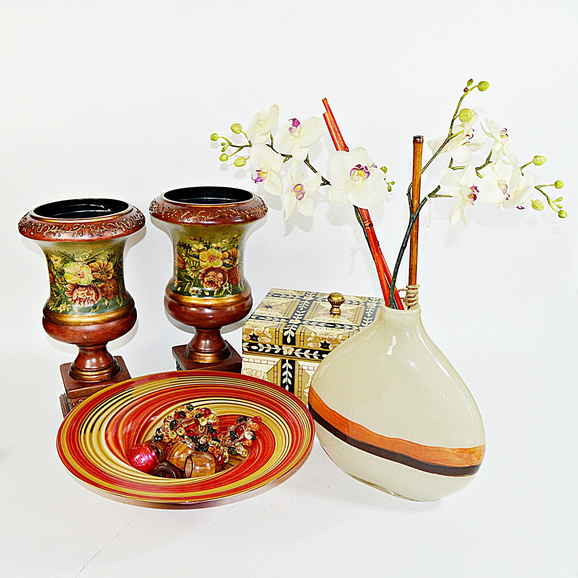 Decor Group with Painted Urns, Inlay Box, Modern Glass Bowl and Vase