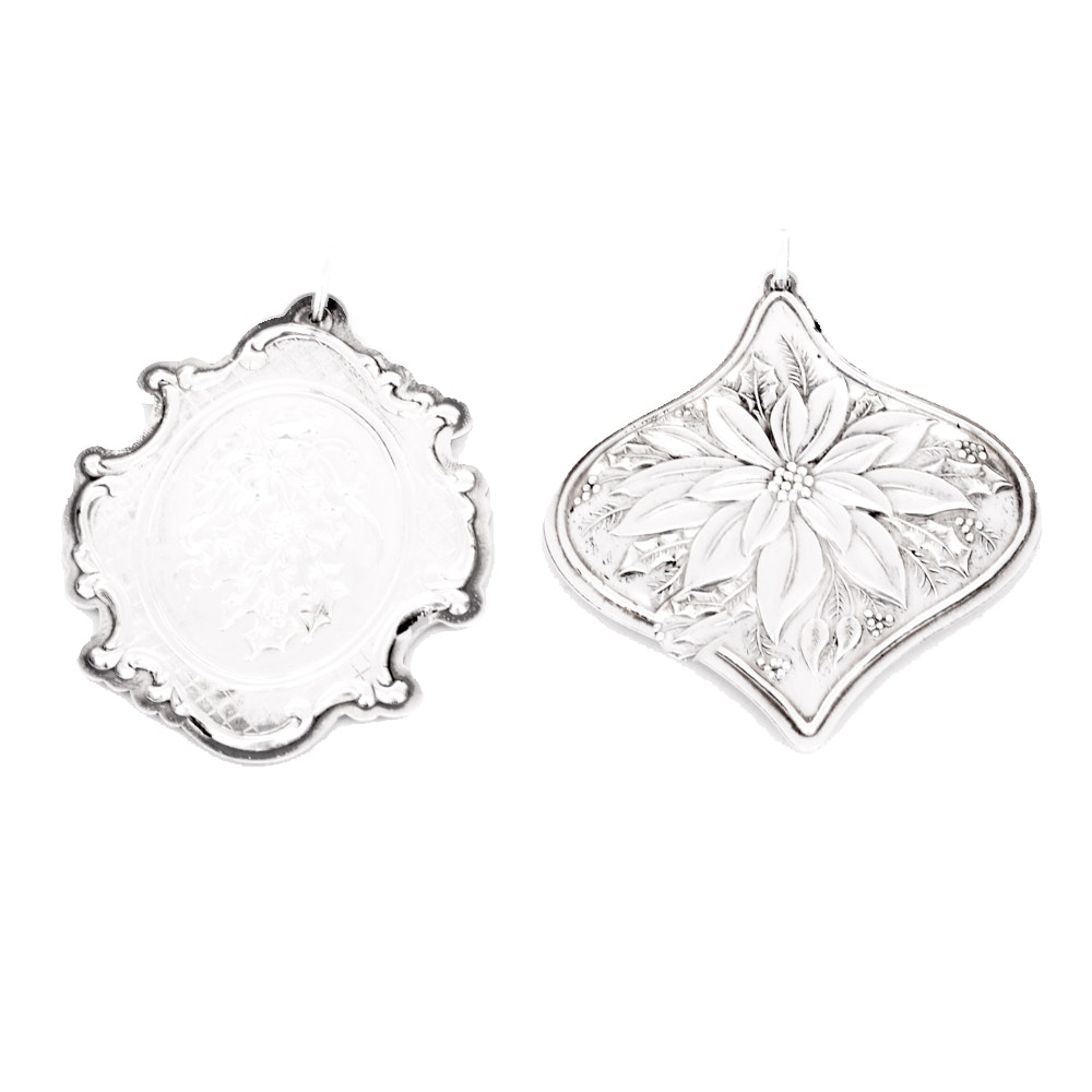 "Towle Sterling Silver ""Floral Medallion"" Christmas Ornaments"