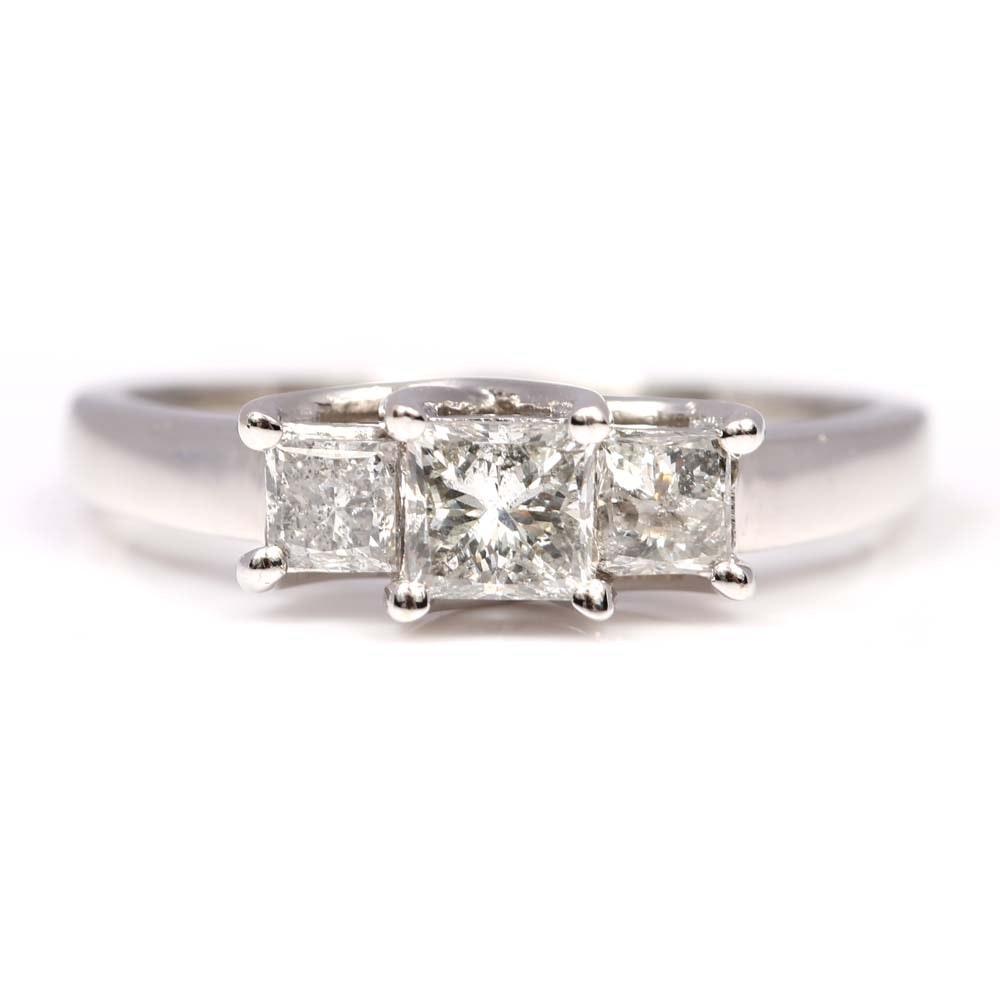 14K White Gold Three-Stone Princess Cut Diamond Ring