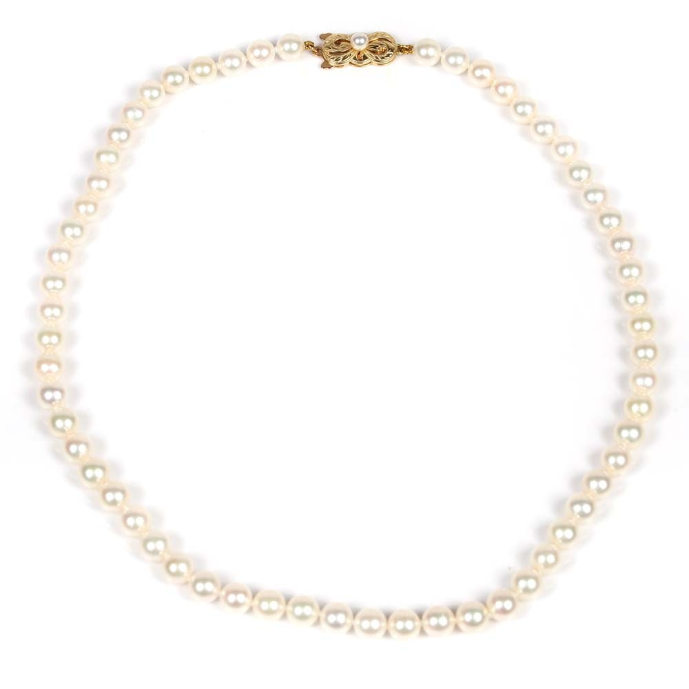 Mikimoto Cultured Pearl Strand with 18K Yellow Gold Clasp