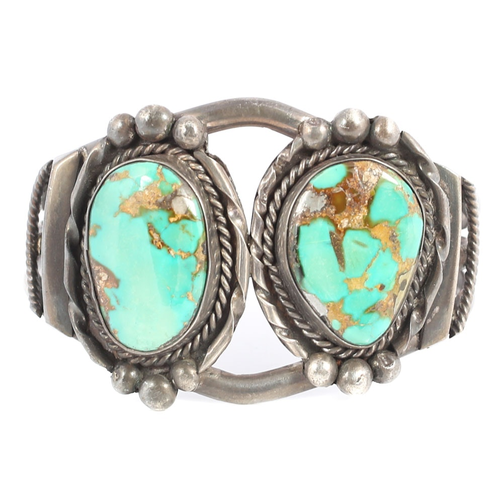 Sterling Silver Double Turquoise Bezel Set Cuff