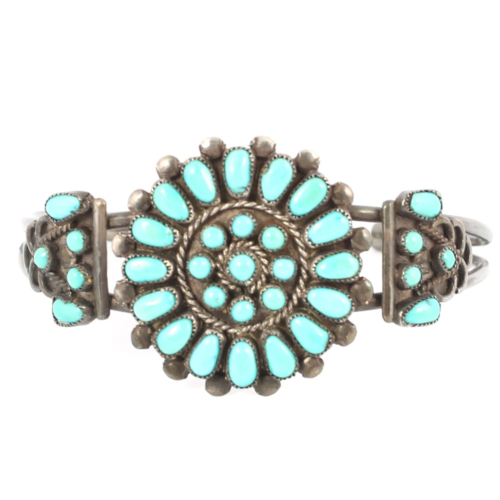 Sterling Silver Turquoise Flower Design Cuff