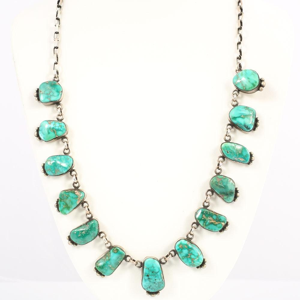 Sterling Silver Turquoise Bezel Set Station Necklace