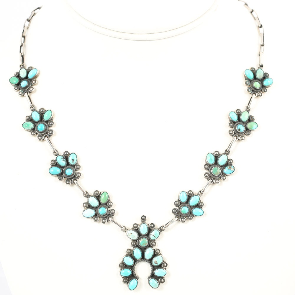 Frederico Jiménez Mexico Sterling Silver Turquoise Necklace with Center Naja
