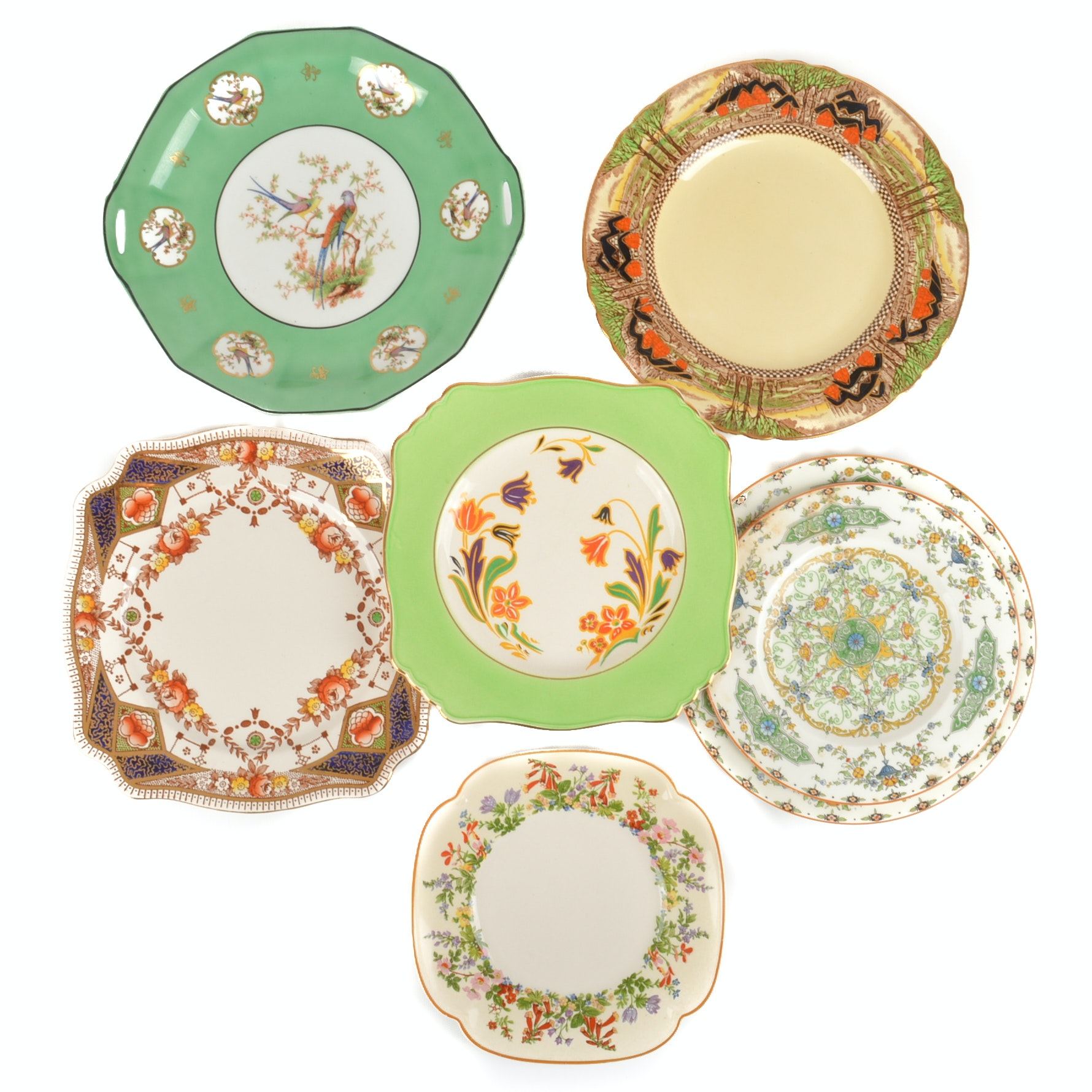 Vintage Floral China and Porcelain Plate Collection including Royal Worcester