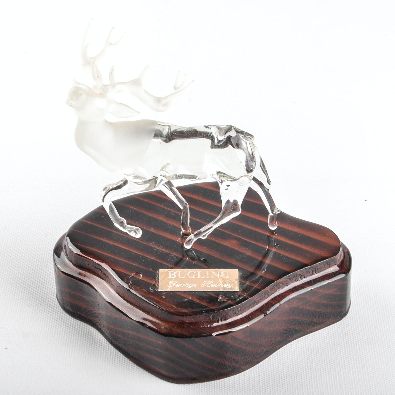 "George Heiney Art Glass Bull Elk Figurine ""Bugling"""
