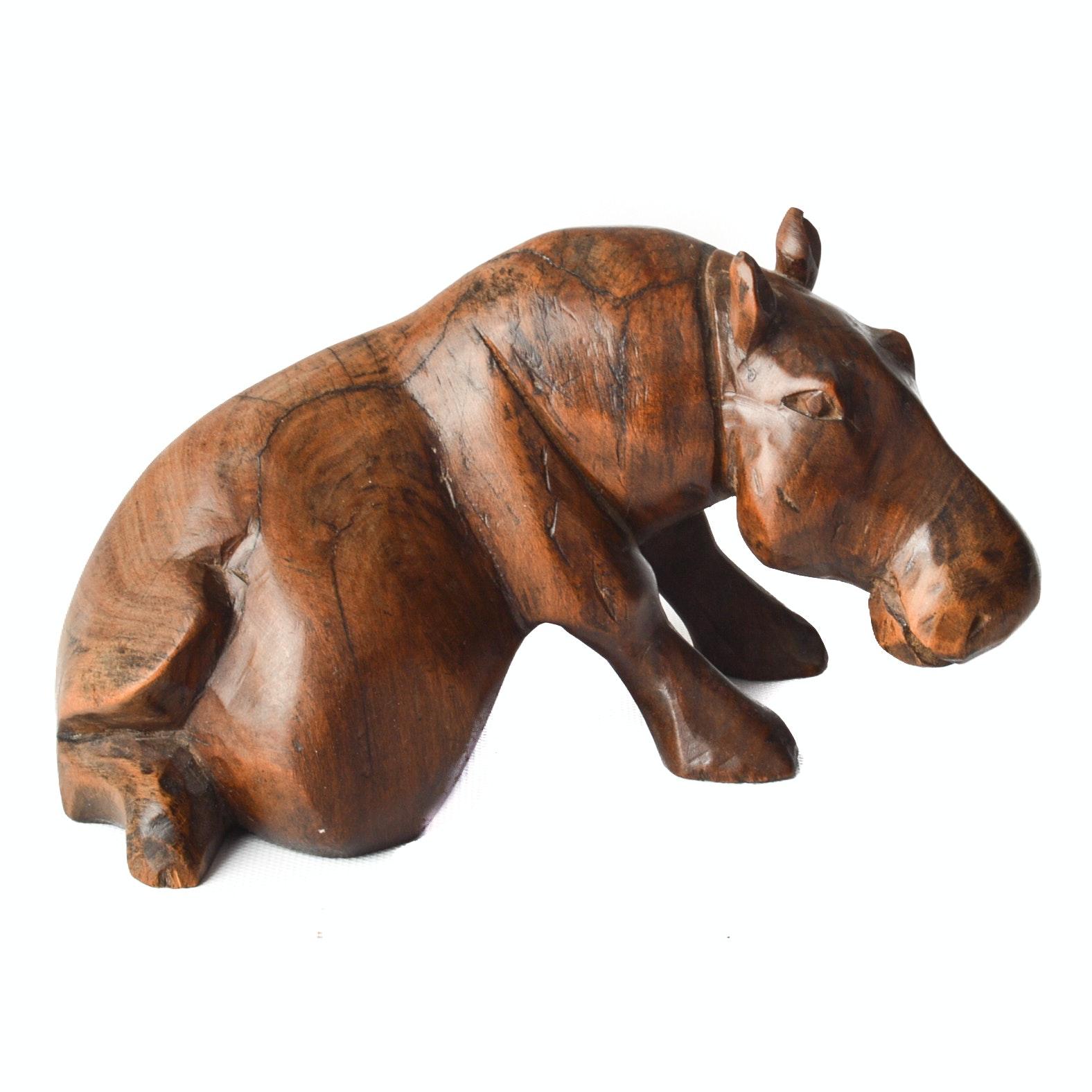 Hand Carved Wood Hippopotamus
