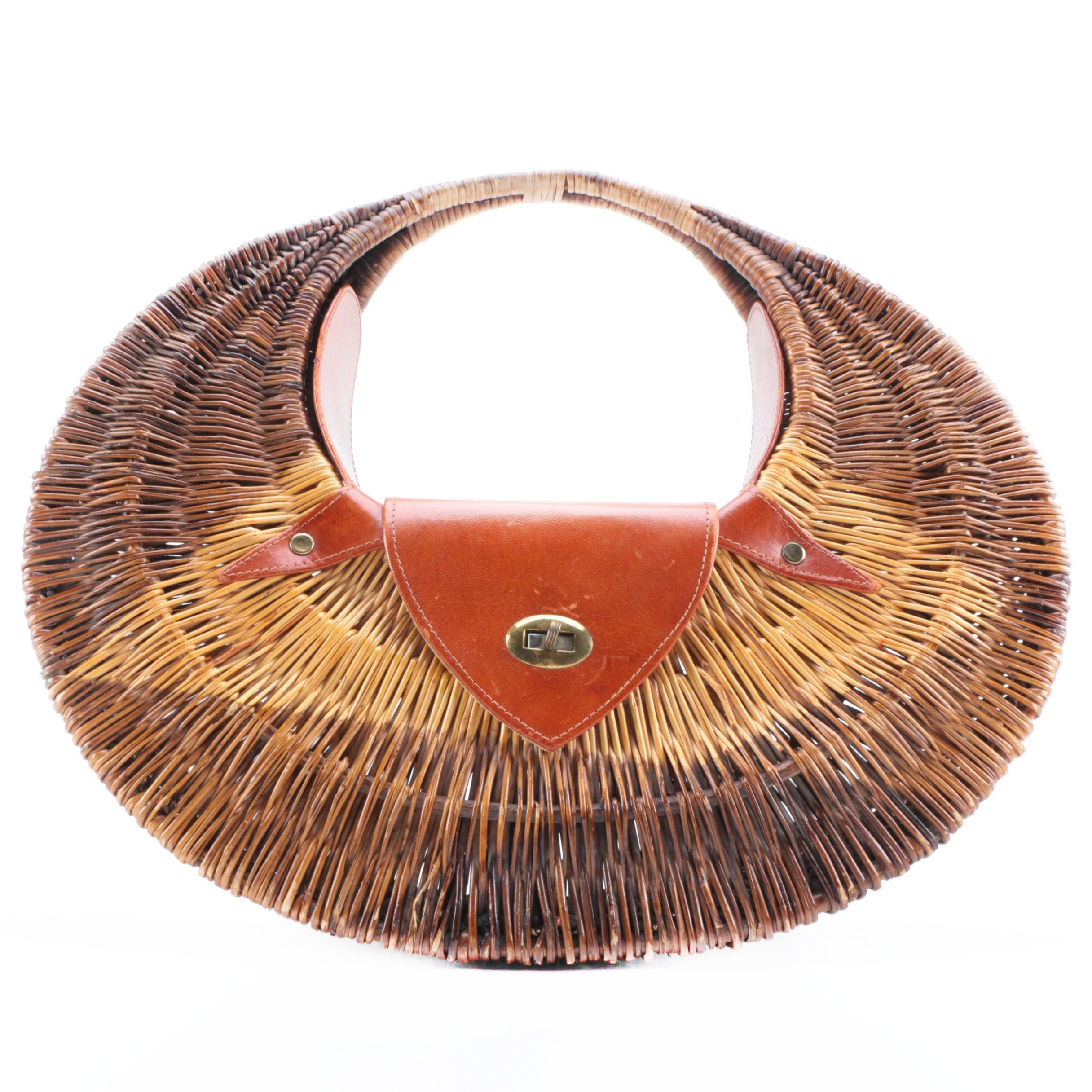 Vintage Woven Cane and Leather Basket Purse