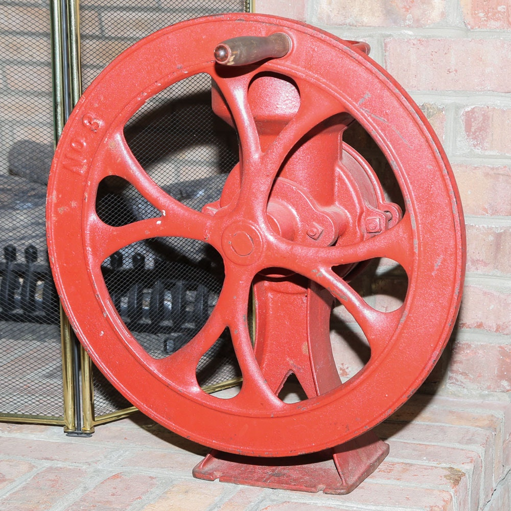 Large Red Cast Iron Coffee Grinder