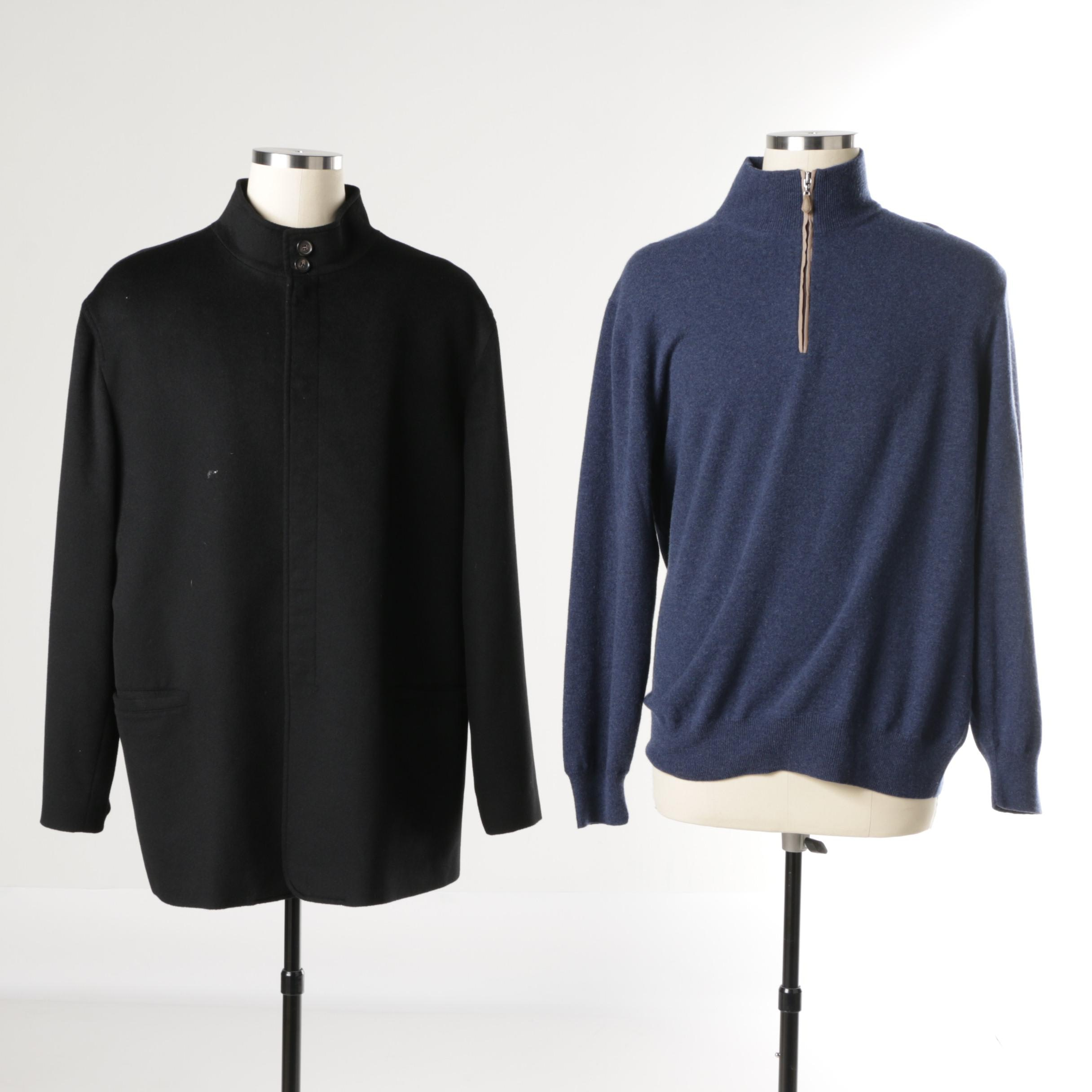 Men's Cashmere Pull-Over Sweater and Jacket