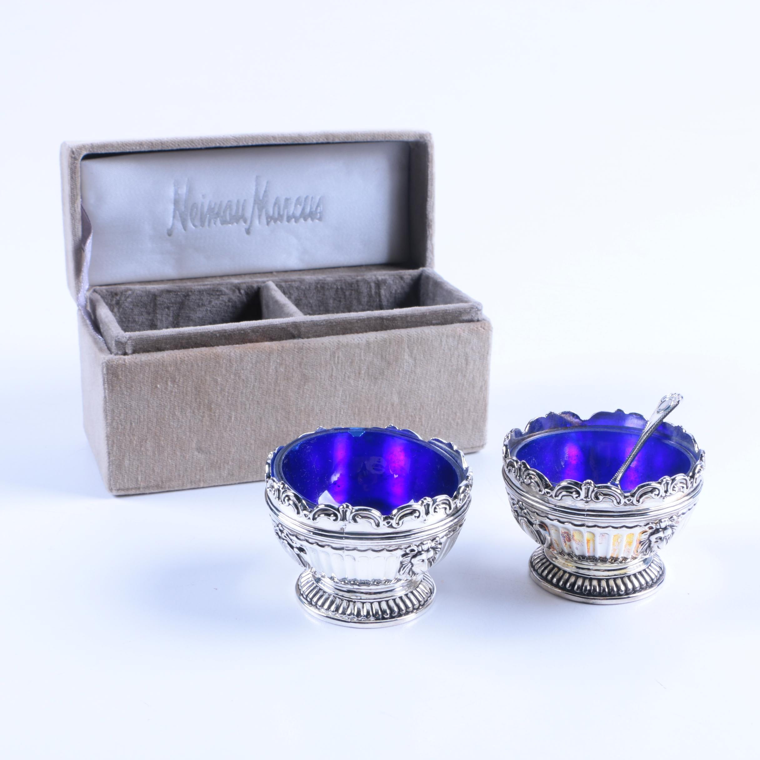 Godinger Silver-Plated Salt Cellars with Blue Glass Inserts
