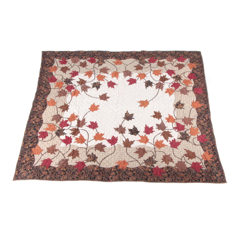 Vintage Hand Appliqued Maple Leaf Quilt