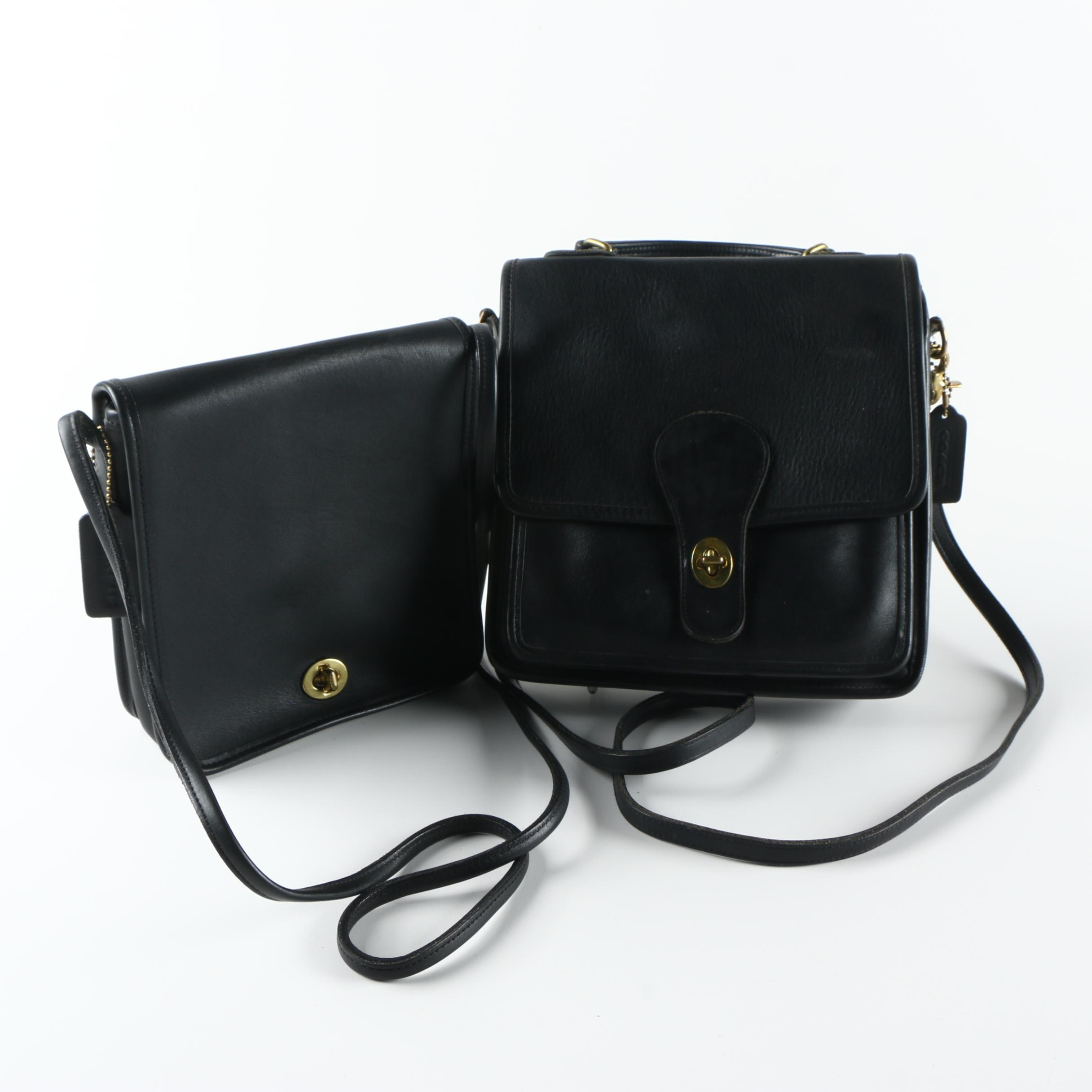 1970s-1980s Vintage Coach Black Leather Handbags