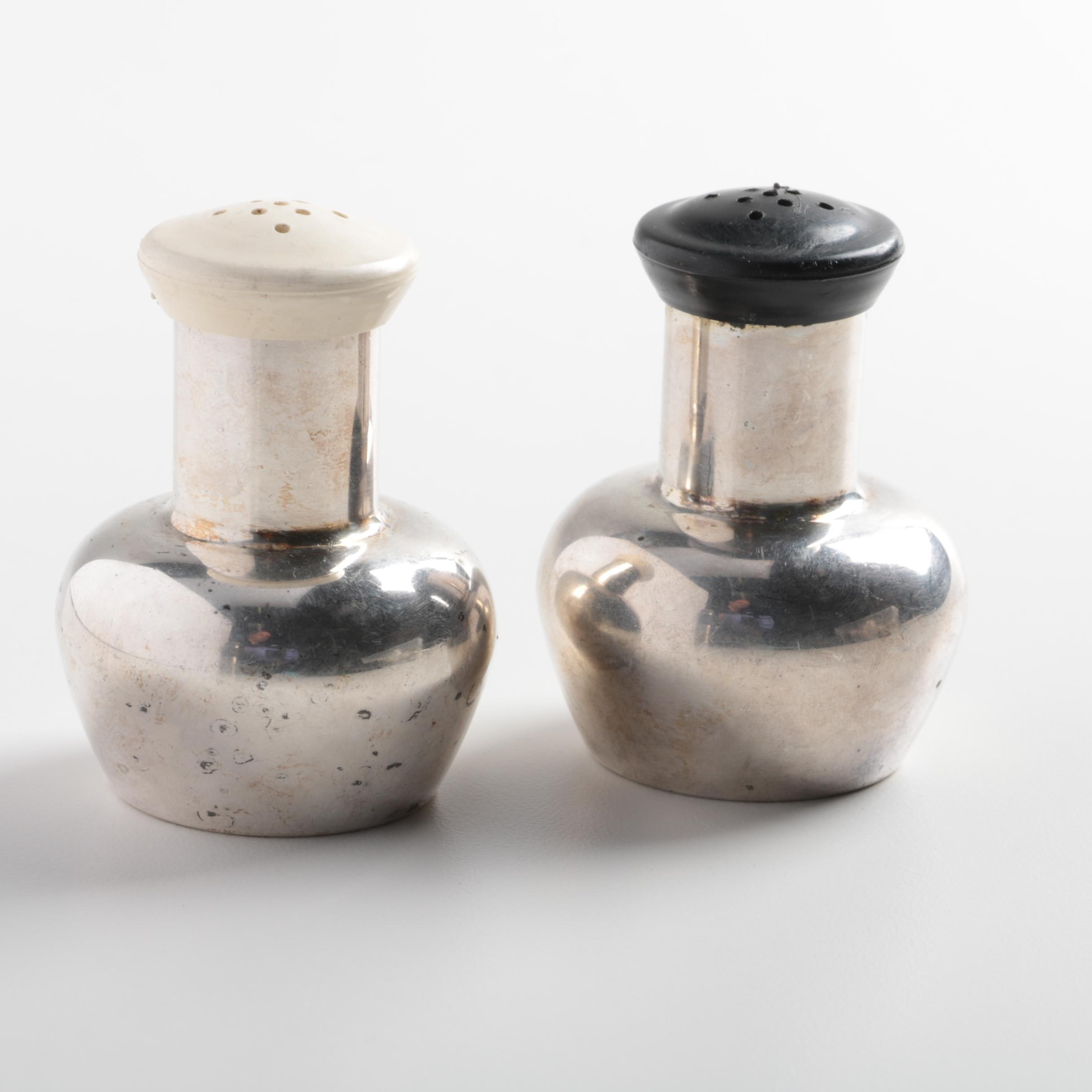 Modernist Style Silver Tone Salt and Pepper Shakers
