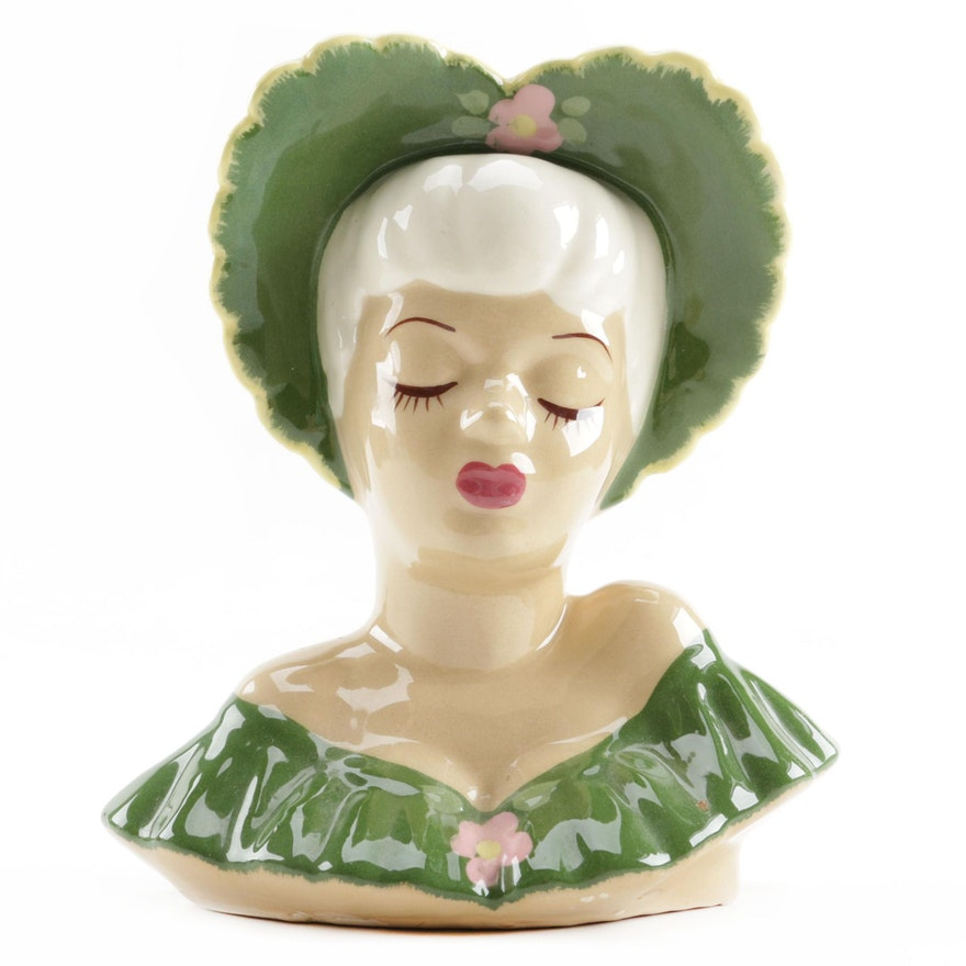 Vintage Lady Head Vase Ebth