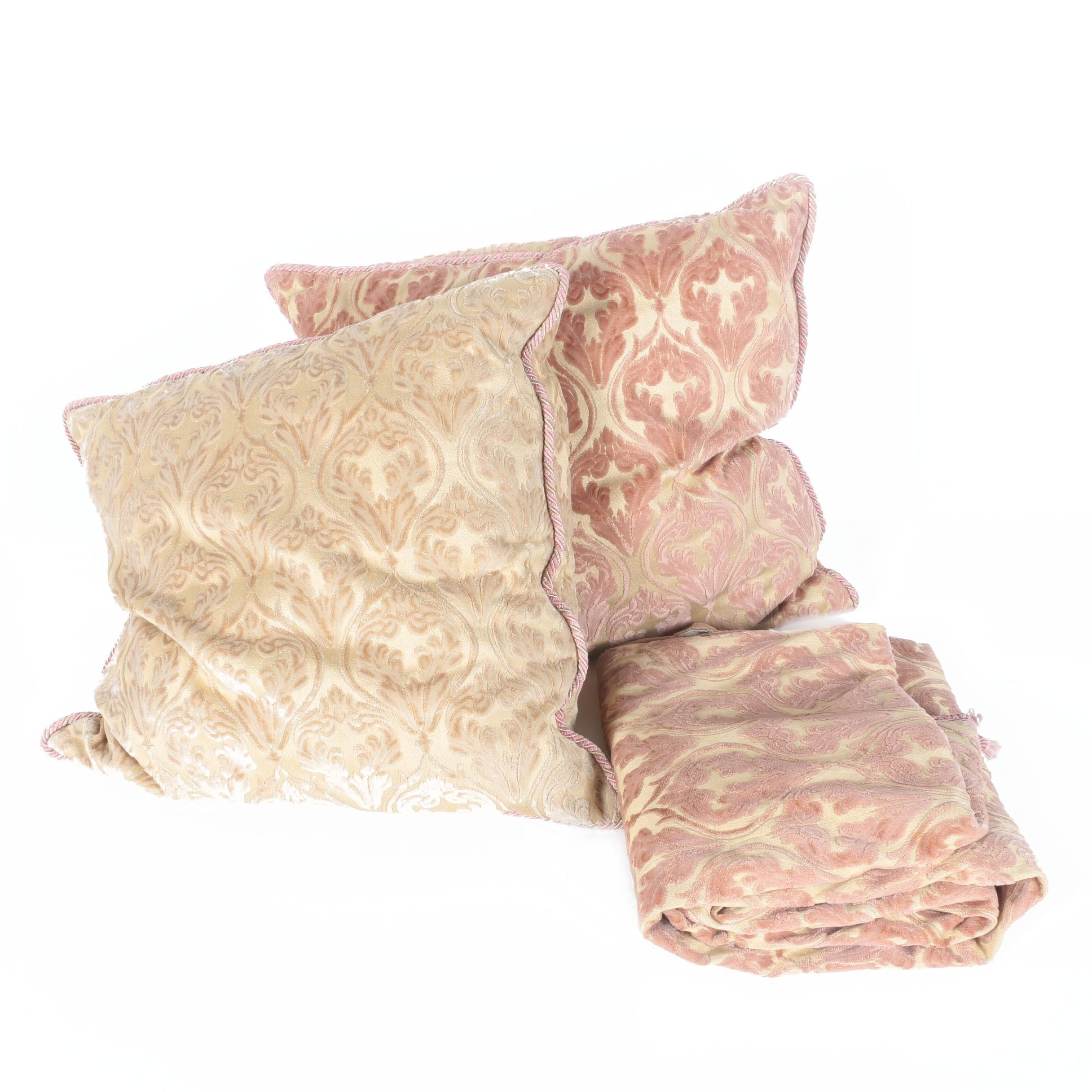 Damask Coverlet with Accent Pillows