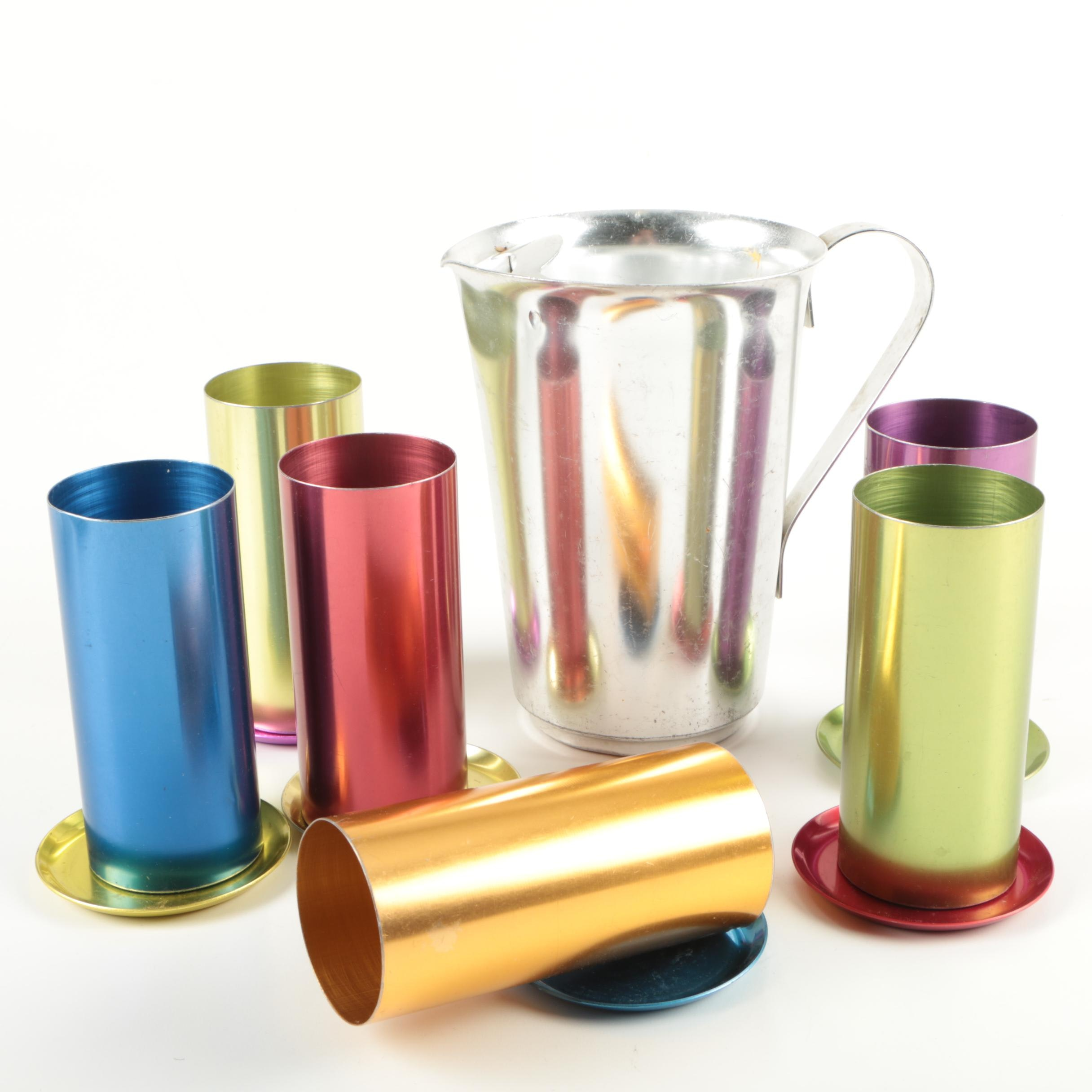 Vintage Perma Hues Colored Aluminum Tumblers and Pitcher