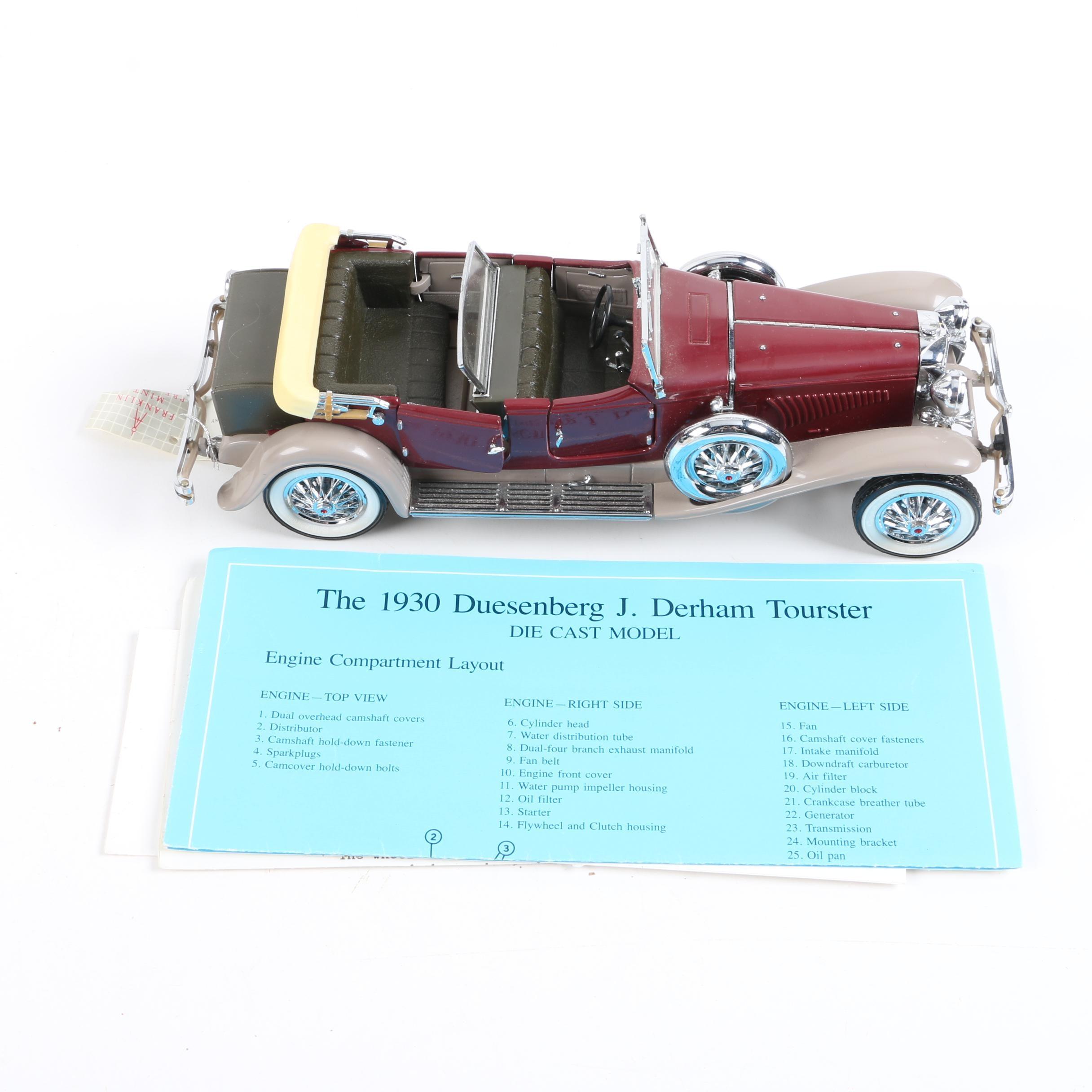 1930 Duesenberg J Derham Tourster Die-Cast Car by Franklin Mint