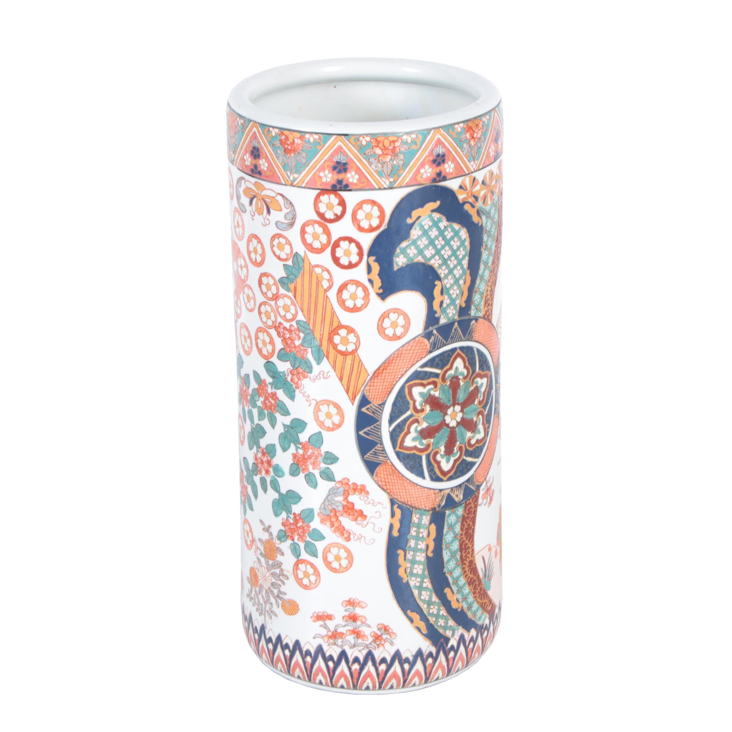 East Asian Enameled Porcelain Umbrella Stand