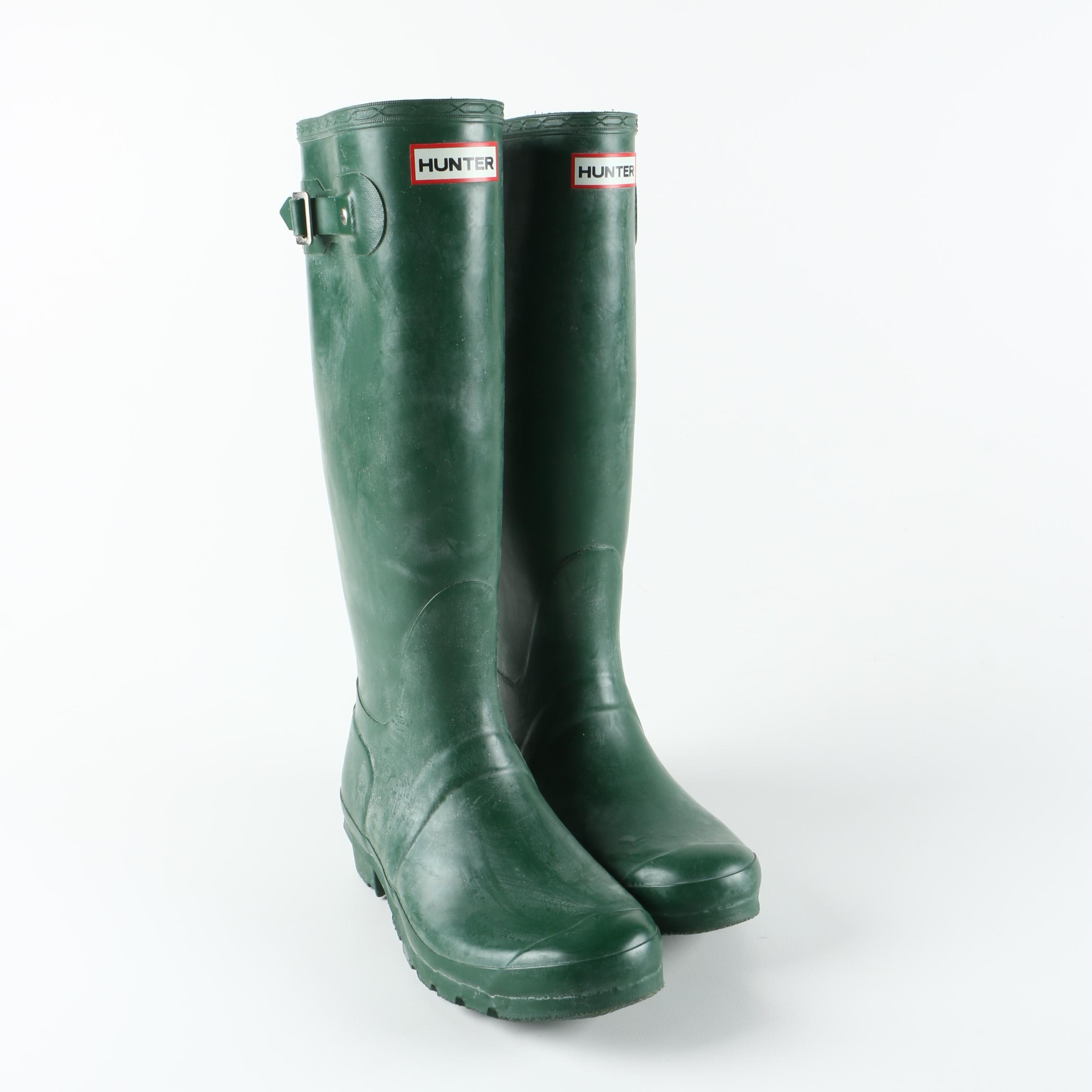 Hunter Green Rubber Rain Boots