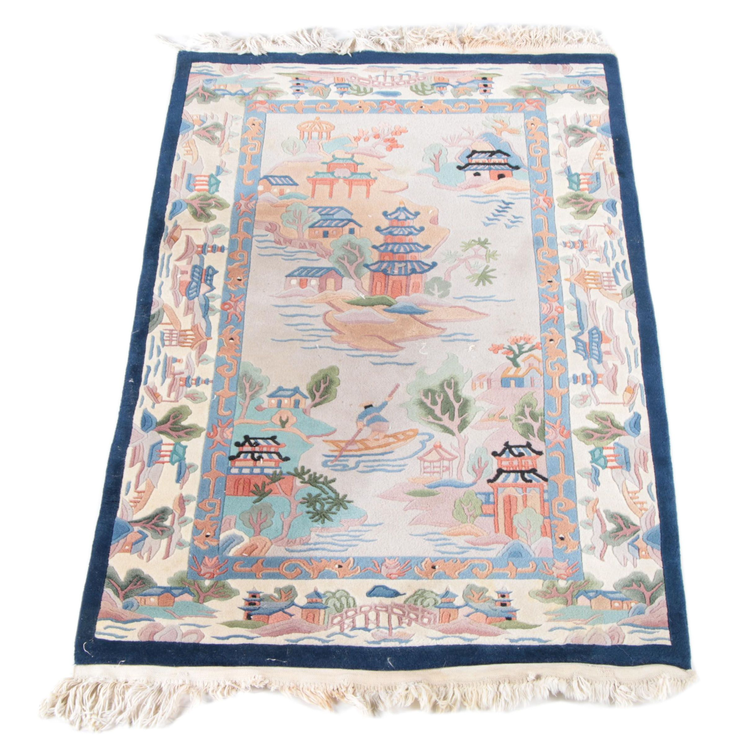 Vintage Handwoven Chinese Pictorial Accent Rug