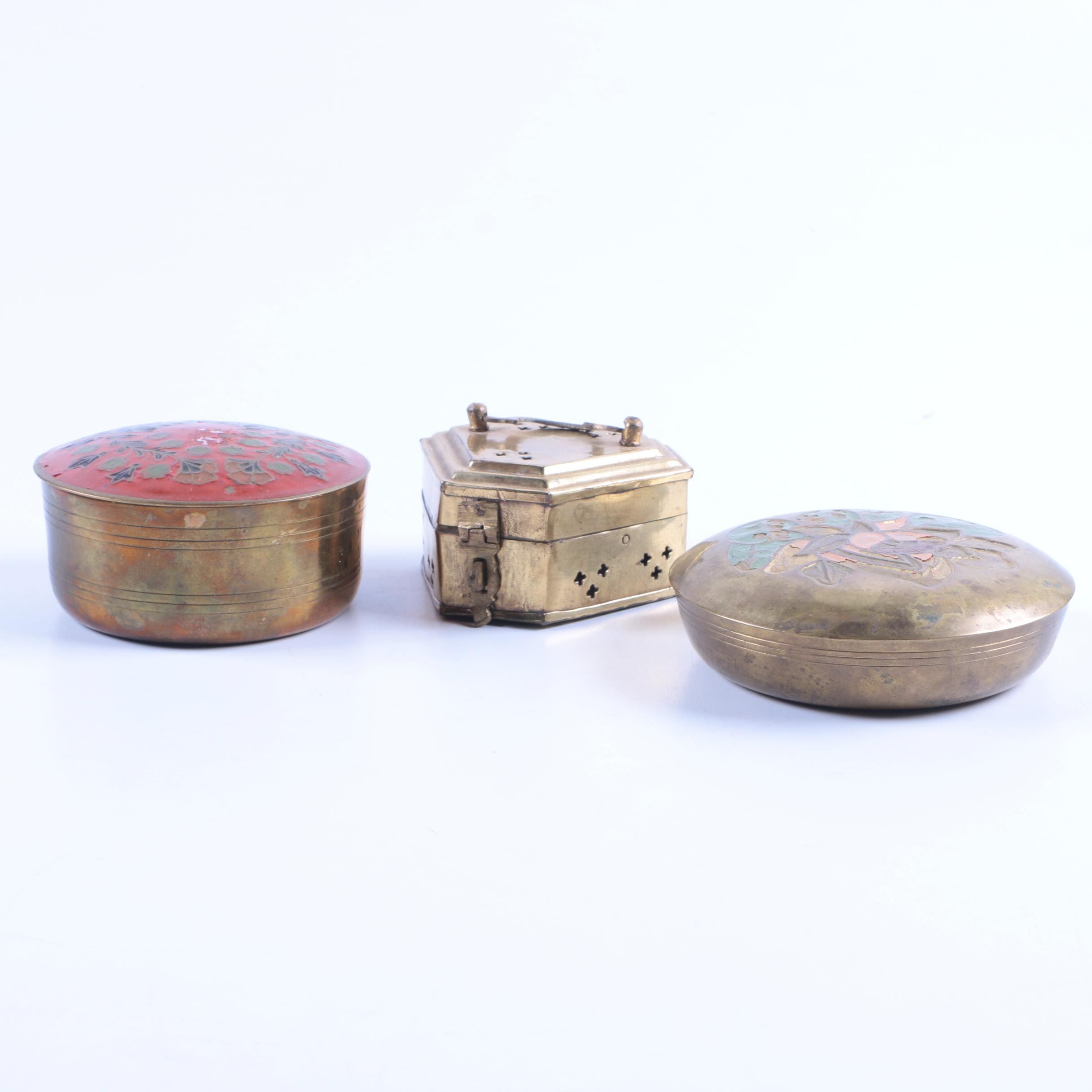 Vintage Brass Trinket Containers