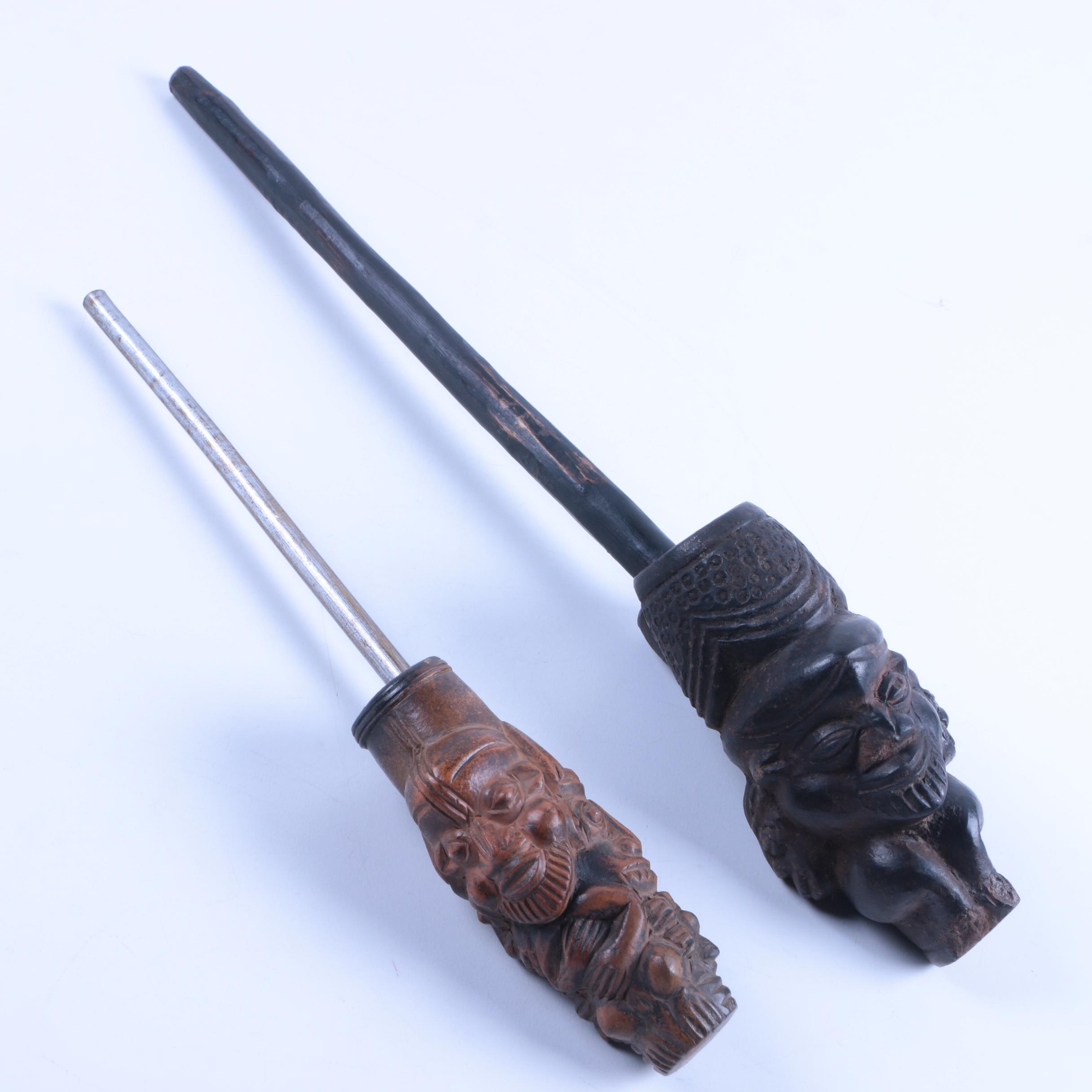 Pair of Hand-Carved Africa Tobacco Pipes