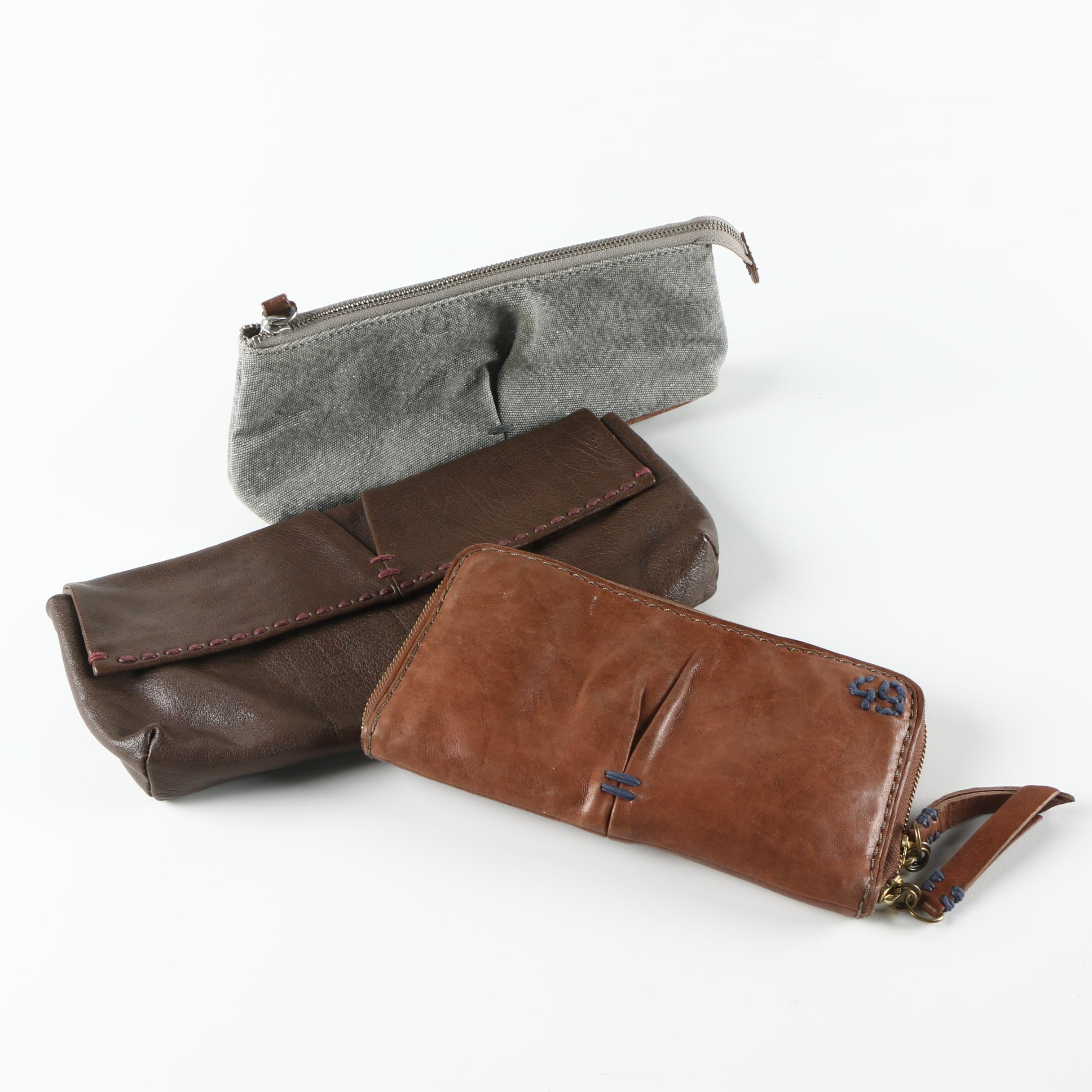 Rissetto Leather and Canvas Clutch Wallets