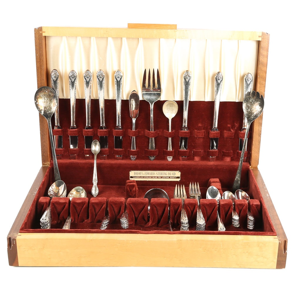 Holmes & Edwards Silver Plate Flatware Set and Burlwood Storage Chest