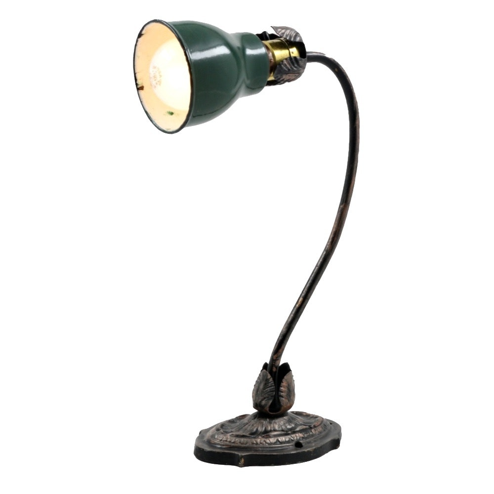 Vintage Cast Iron Table Lamp With Benjamin Enamel Shade ...