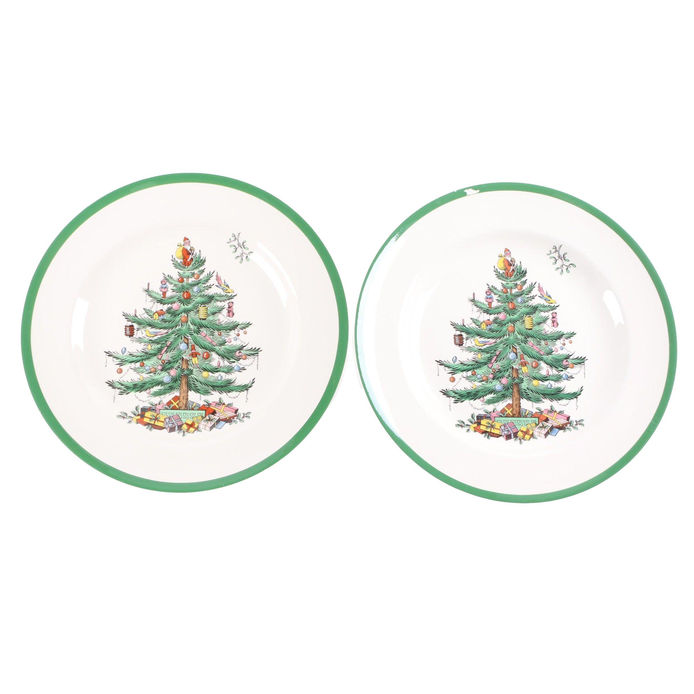 """Spode """"Christmas Tree"""" Porcelain Dinner Plates"""