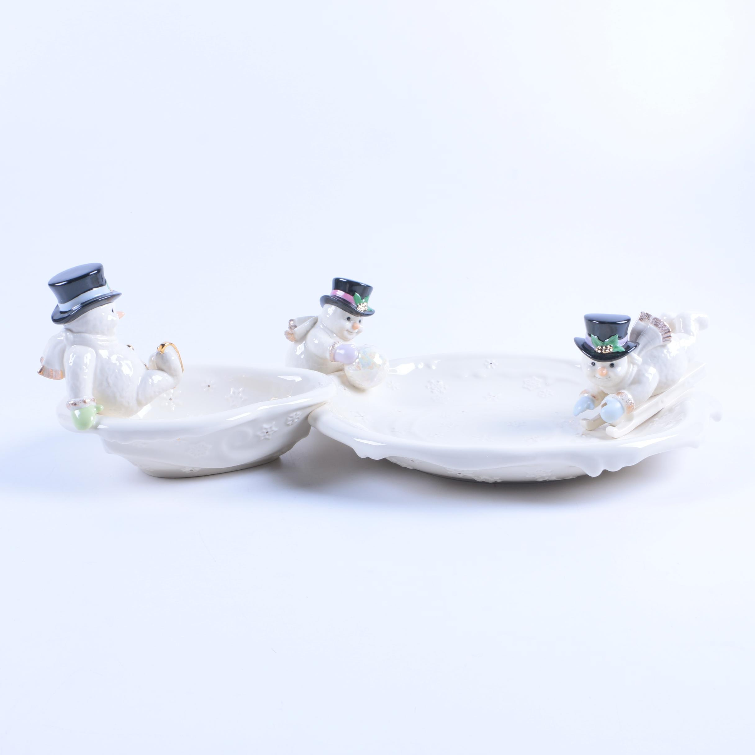 "Lenox ""The Snowman Chip and Dip"" Porcelain Dish"