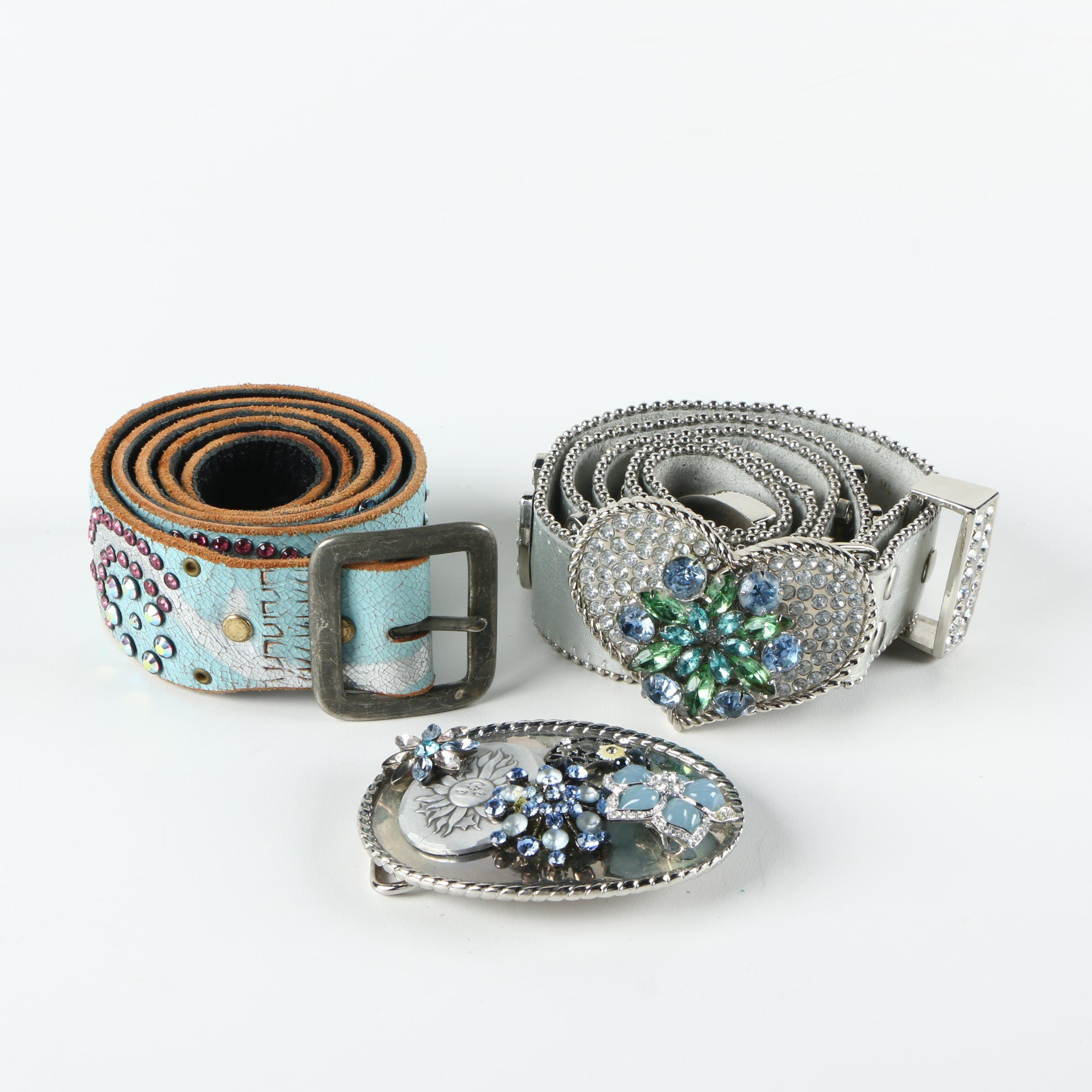 Bejeweled Leather Belts and Buckles